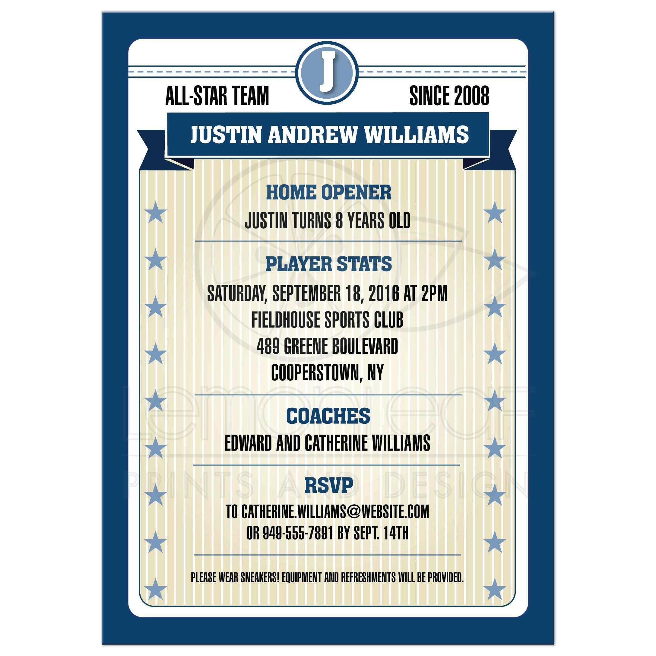Birthday Party Invitation - Blue Baseball Sports Trading Photo Card