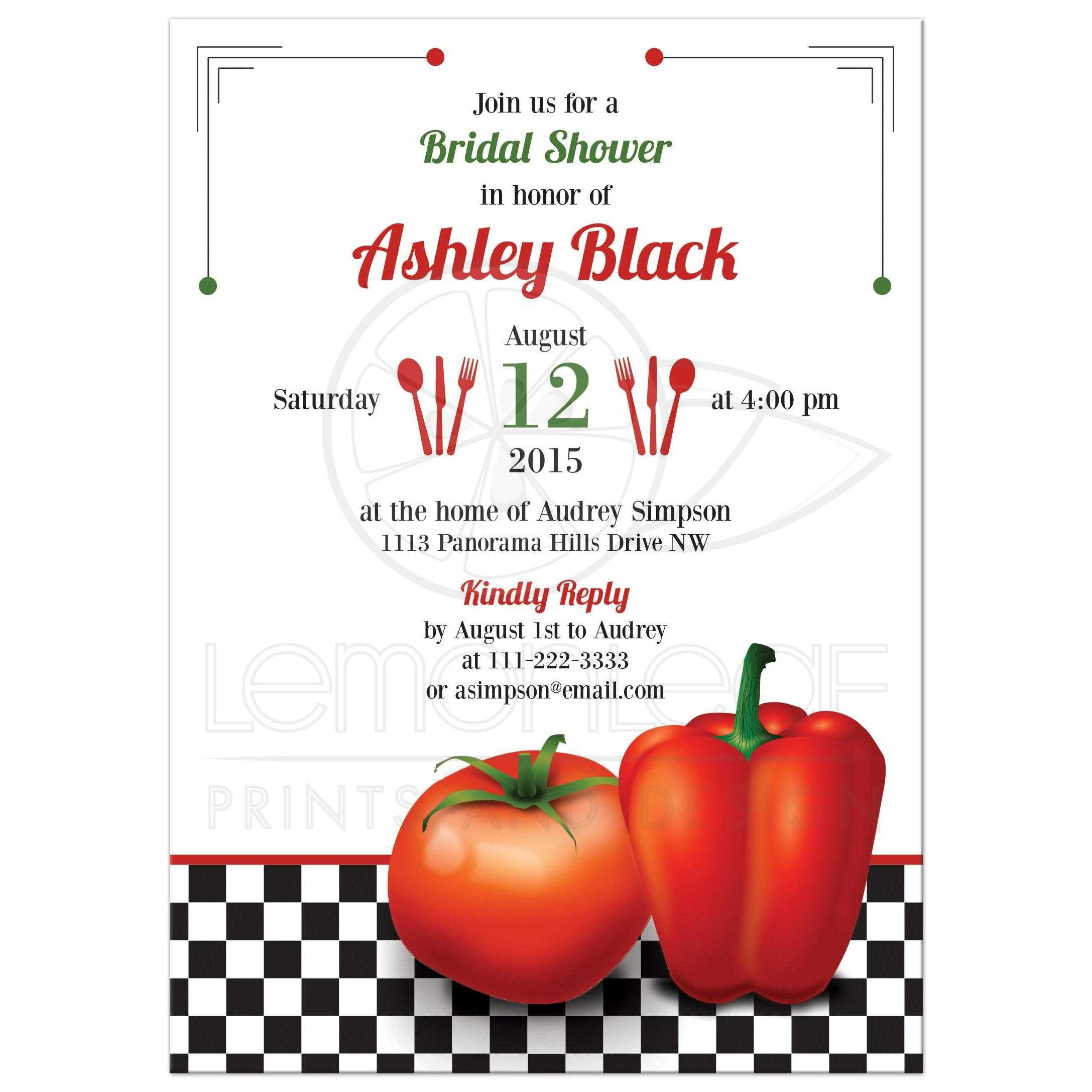 retro italian kitchen themed bridal shower invitation featuring red tomato and pepper front