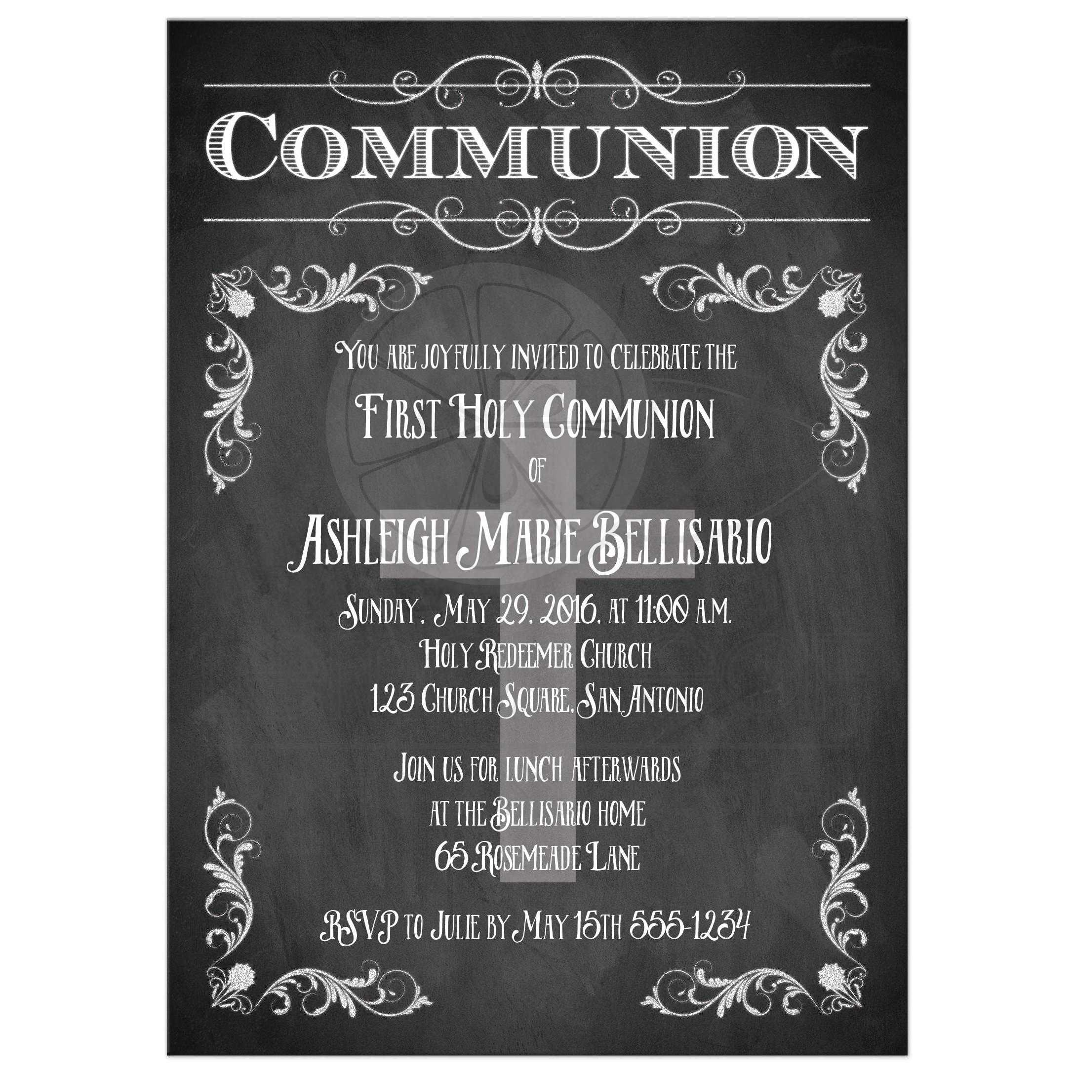 First Holy Communion Invitation Chalkboard Flourishes