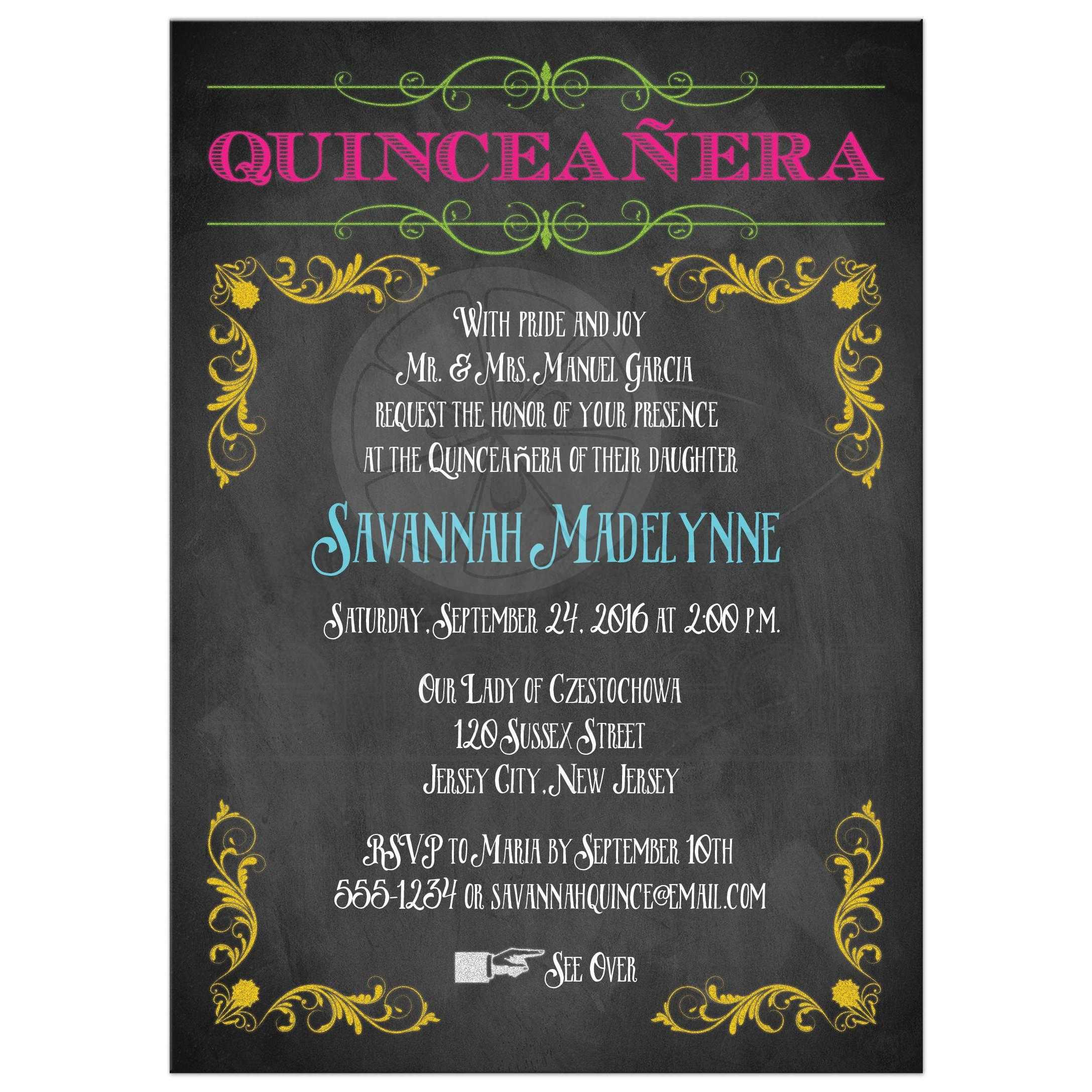 Quinceanera Invitation | Neon Chalkboard | Vintage Scrolls and ...
