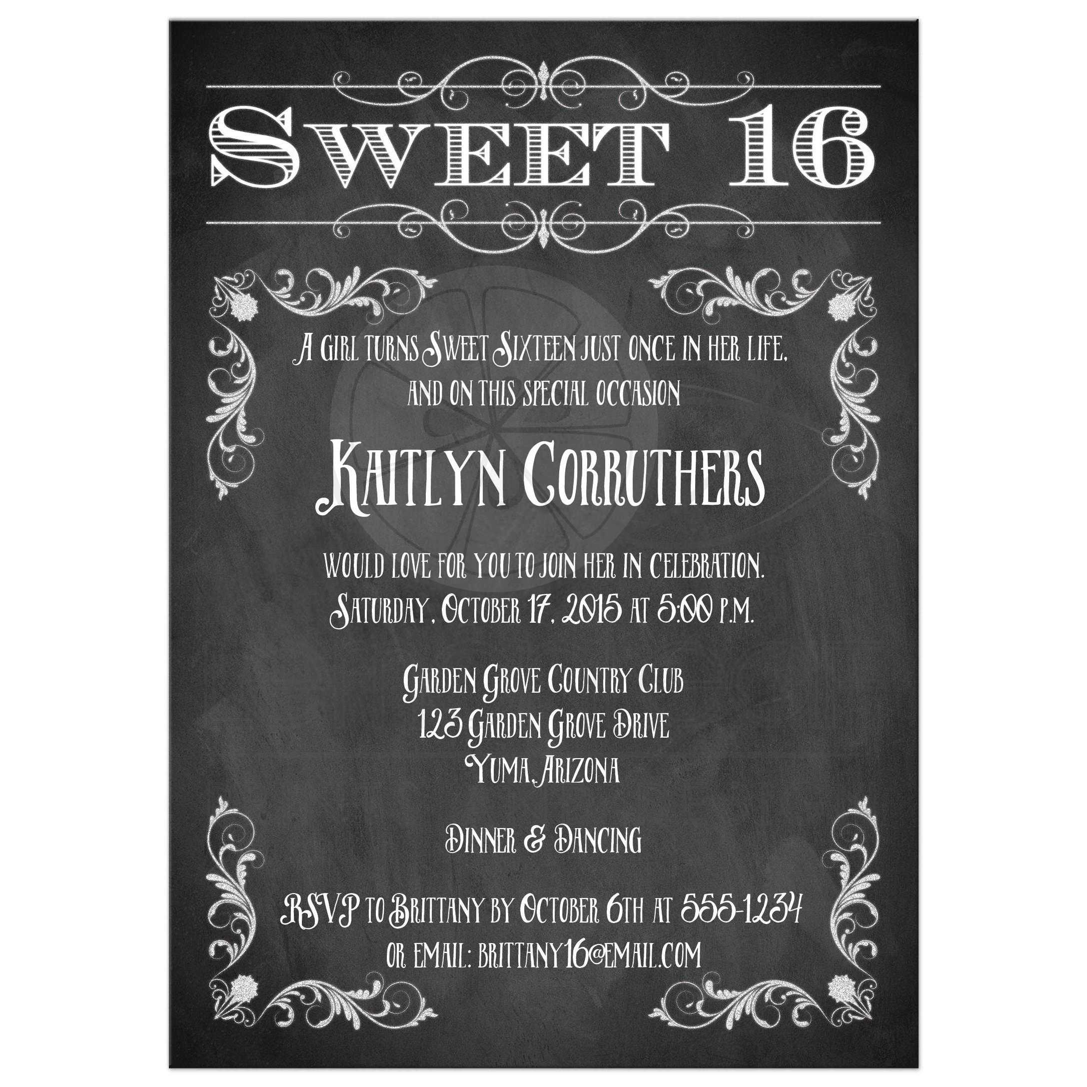 Chalkboard Sweet 16 Birthday Invitation With Vintage Scrolls And Flourishes