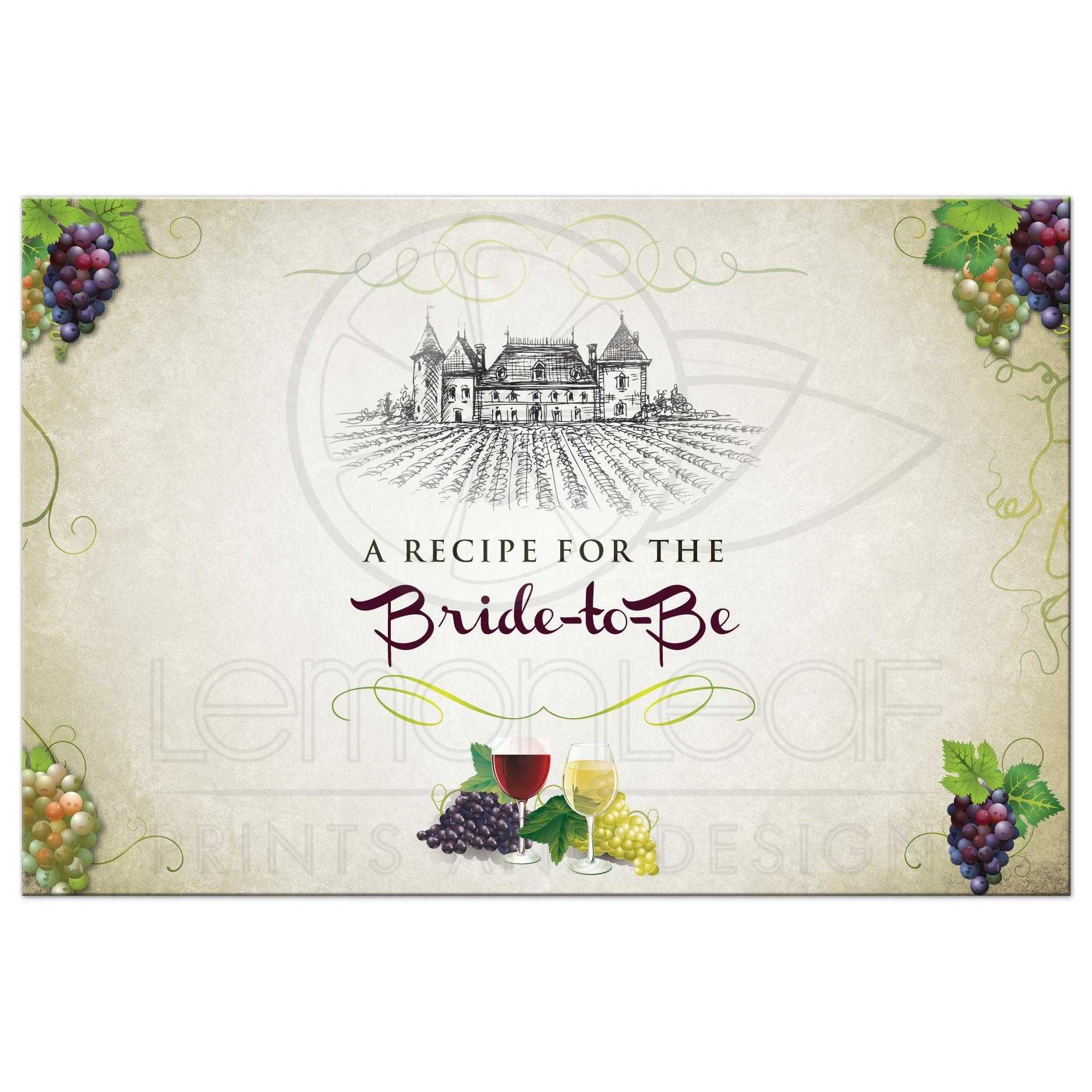 recipe card vineyard wine and grapes bridal wedding shower