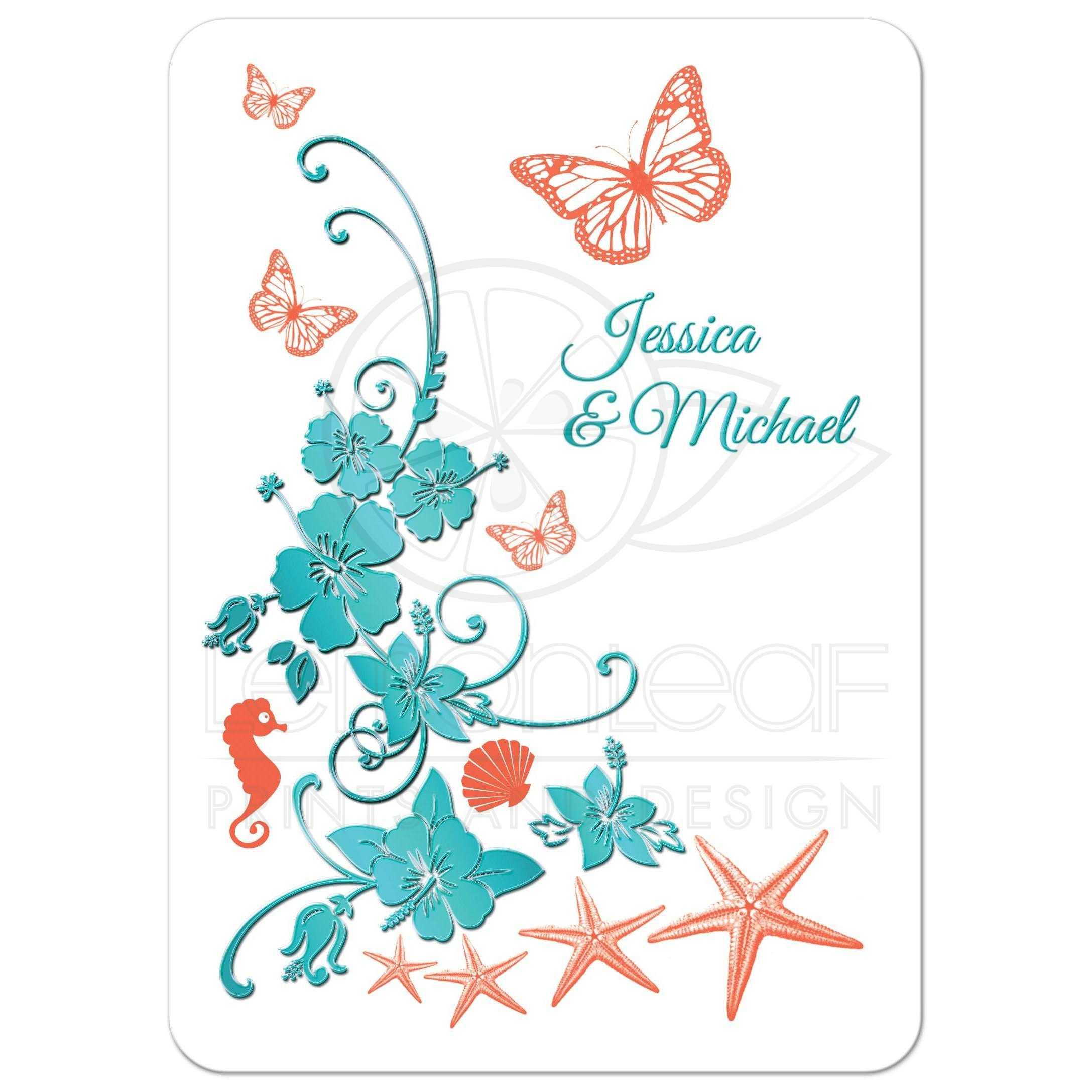 Coral Colored Wedding Invitations: Destination Wedding Invitation