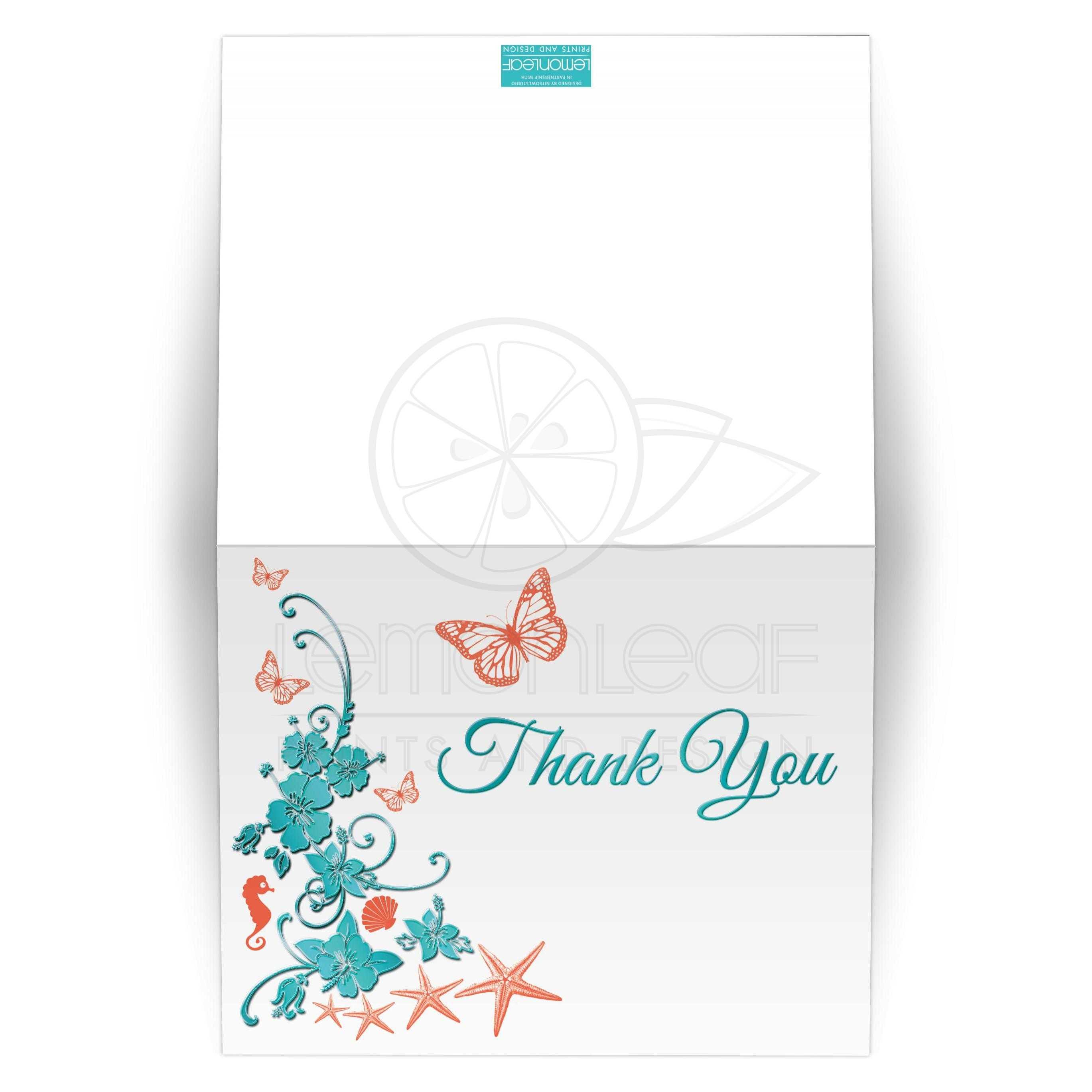 Aqua Blue And Orange Beach Theme Wedding Thank You Card
