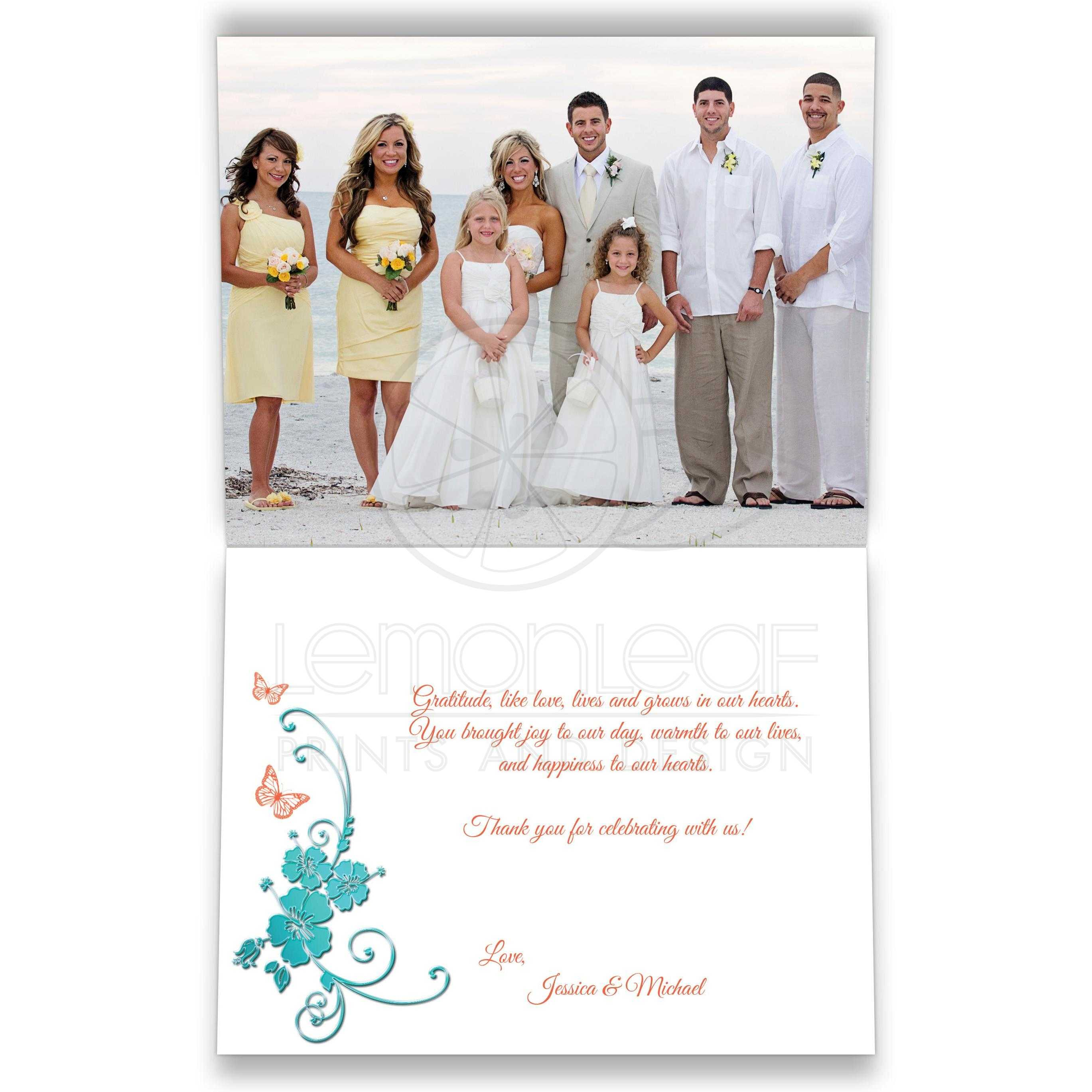 Custom Wedding Photo Thank You Card | Turquoise, Coral | Tropical Beach