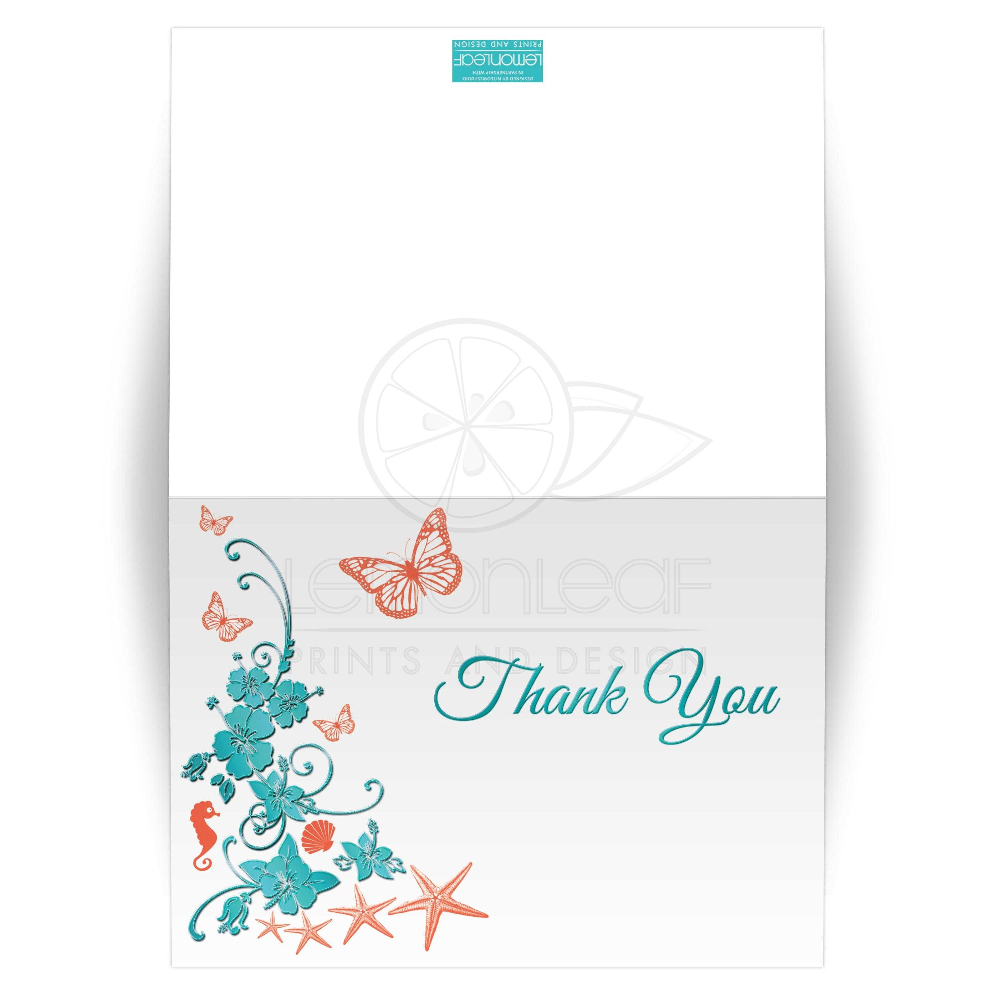 wedding thank you card blank a7 turquoise coral tropical beach