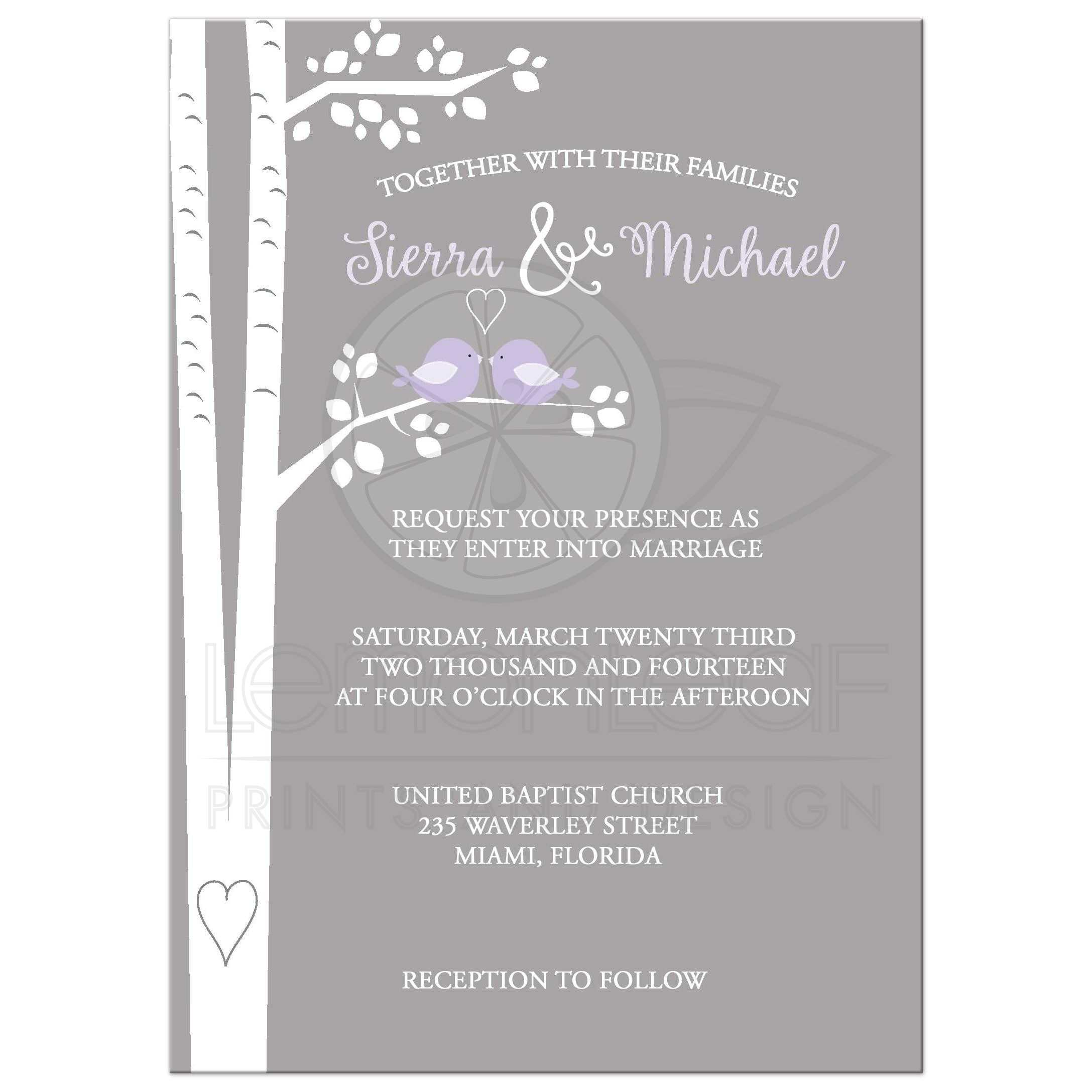 Love Birds On Birch Tree Lavender And Gray Wedding Invitation