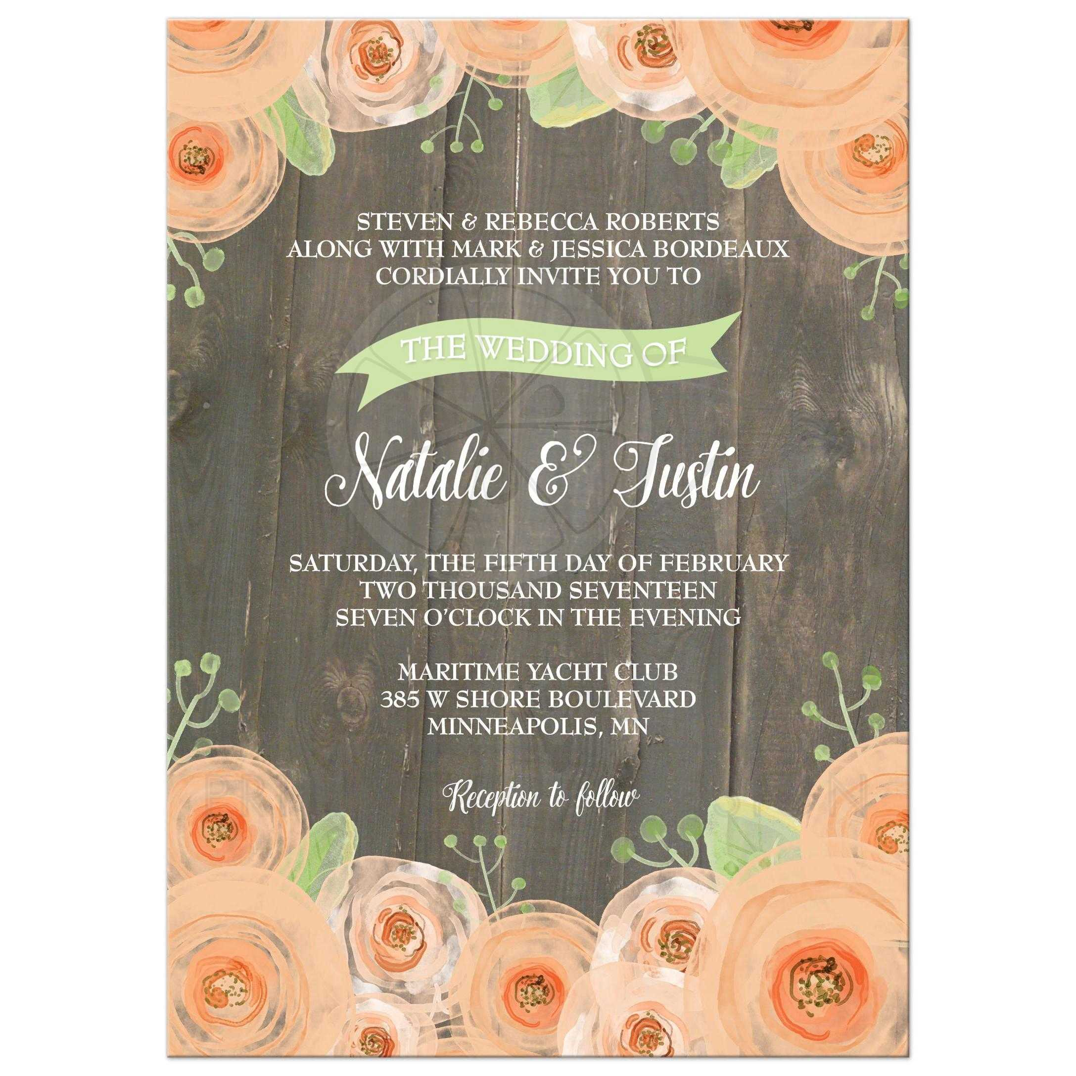 Wedding Invitation Rustic Wood Peach And Green Watercolor Flowers