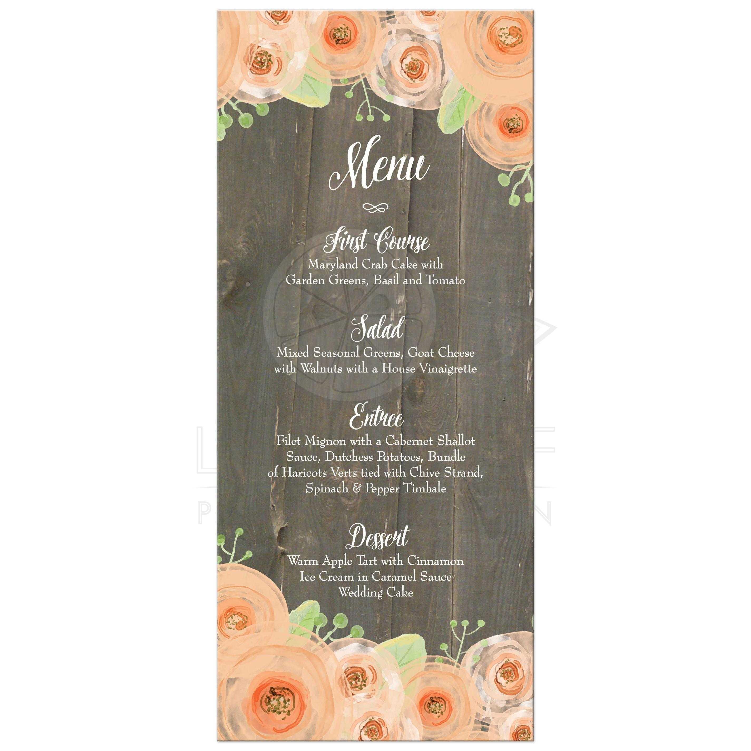 Wedding Food Menu: Rustic Wood Peach Floral Watercolor