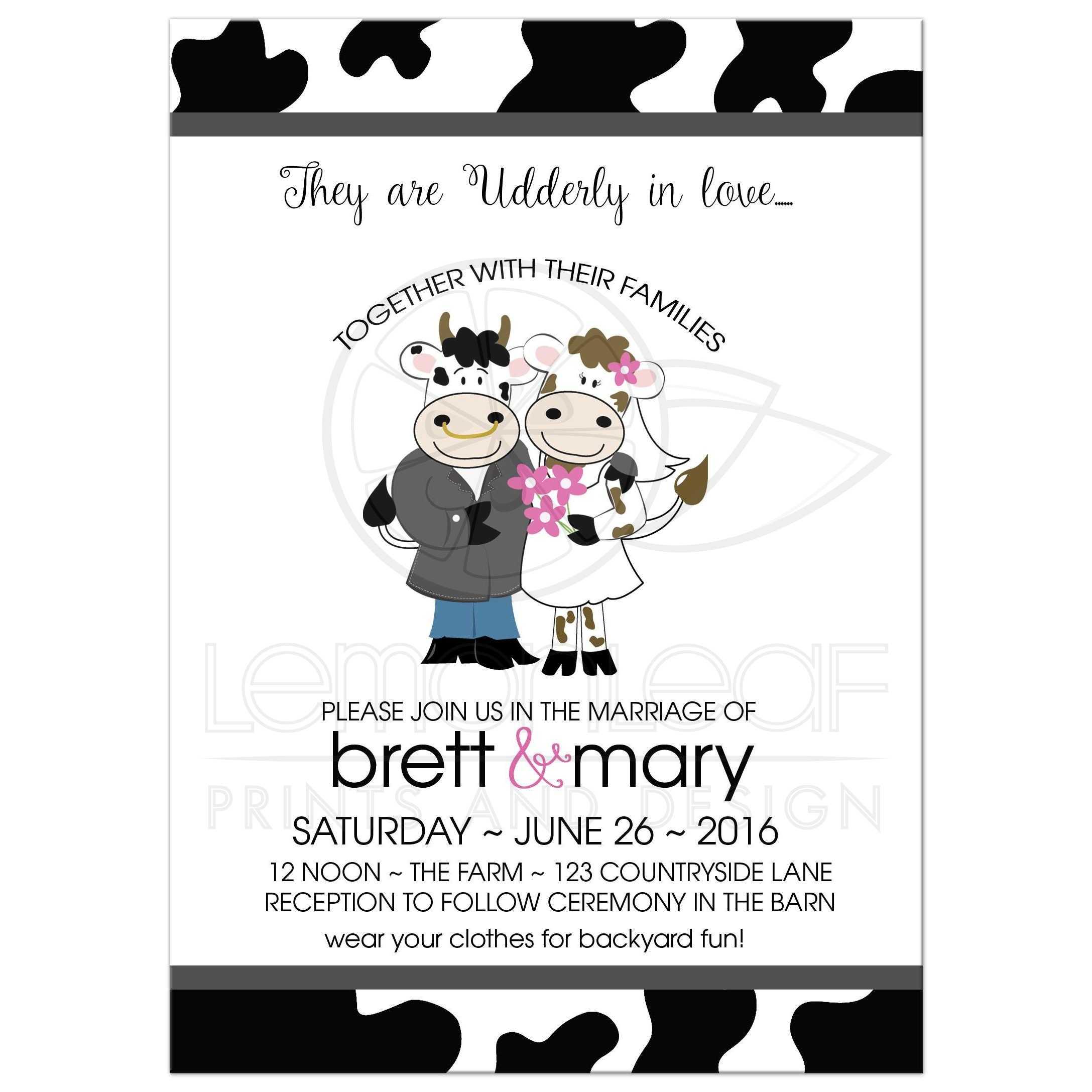 Udderly in love Cow Farm Wedding Invitation