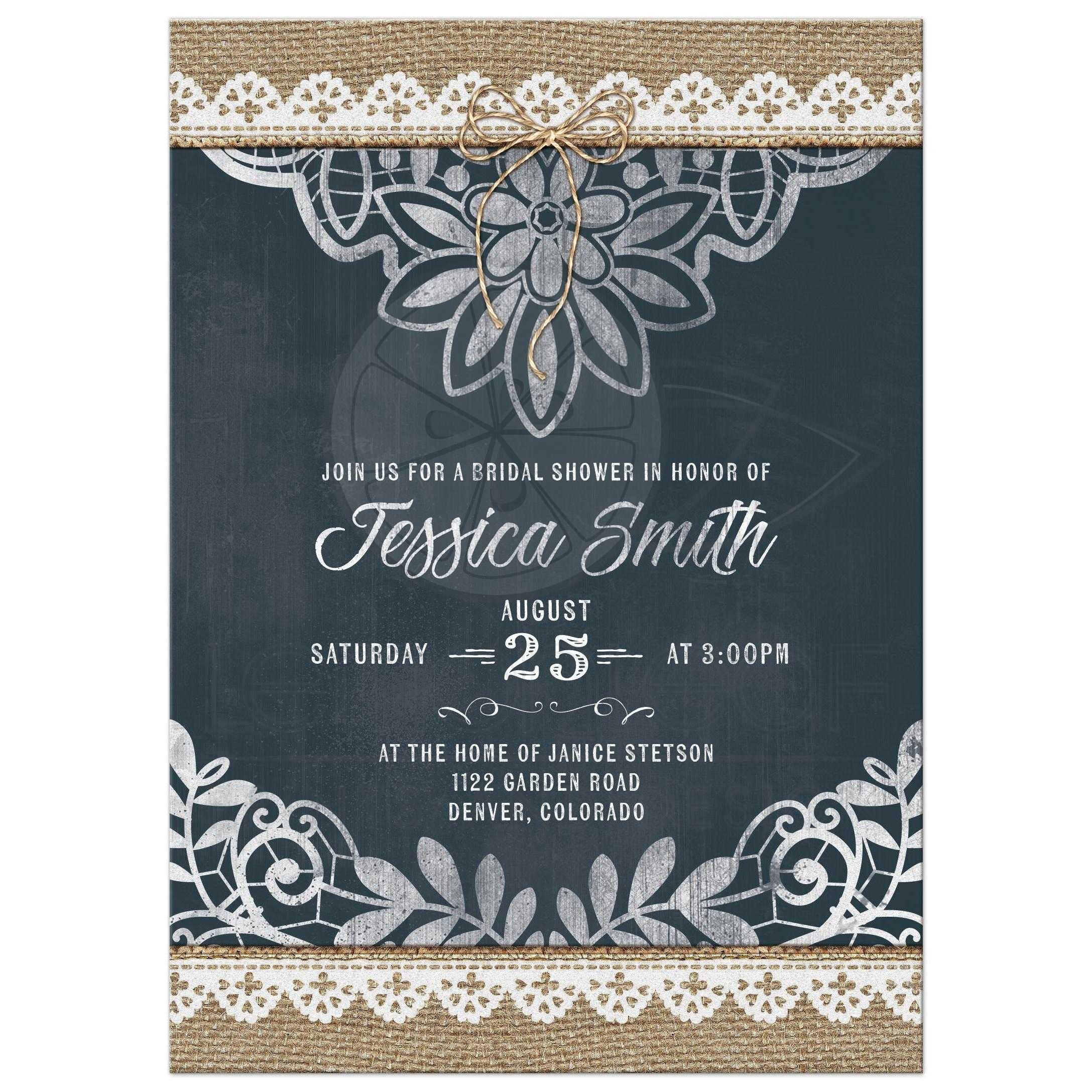 rustic bridal shower invitation burlap lace chalkboard, Wedding invitations
