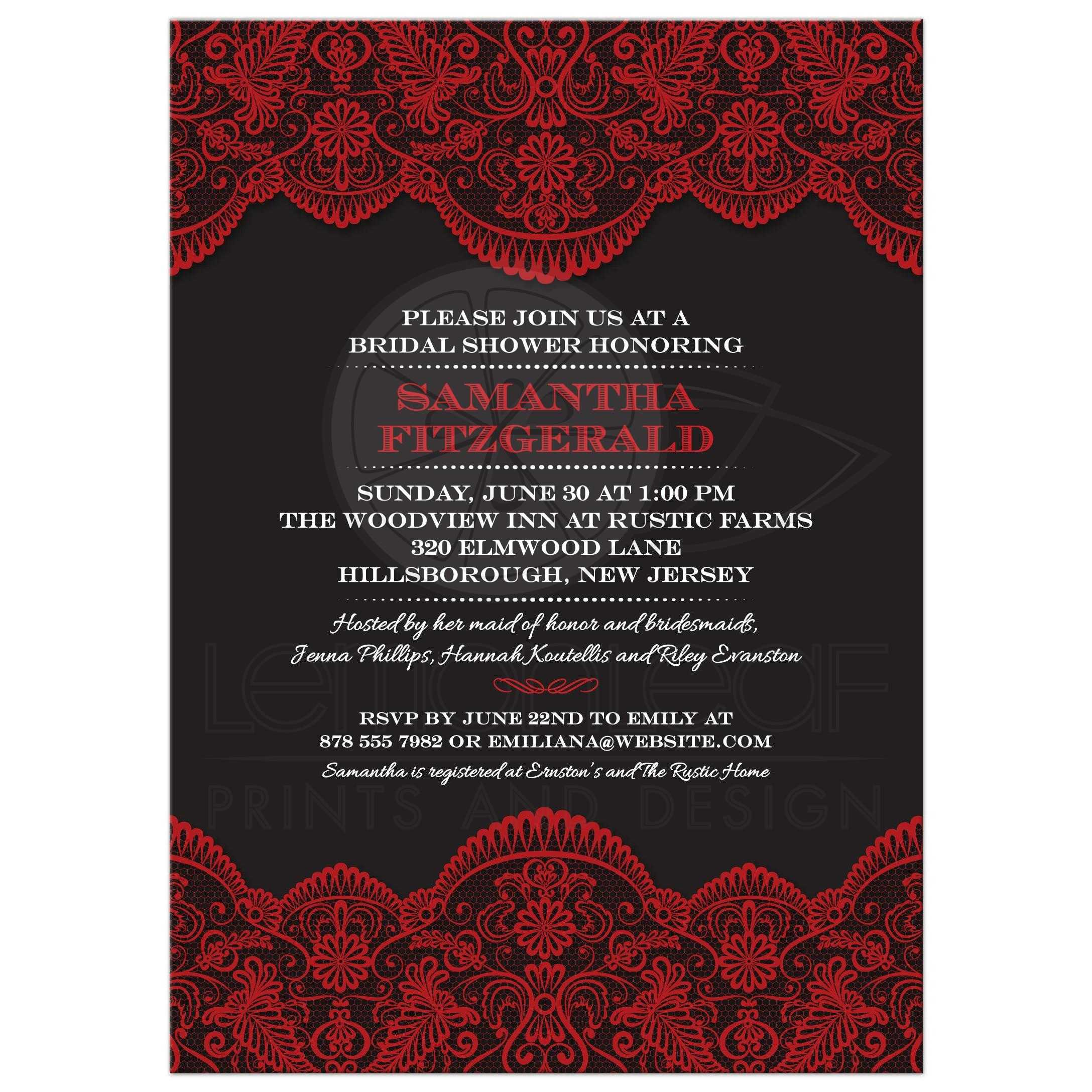 Bridal Wedding Shower invitation - Sheer Red Lace