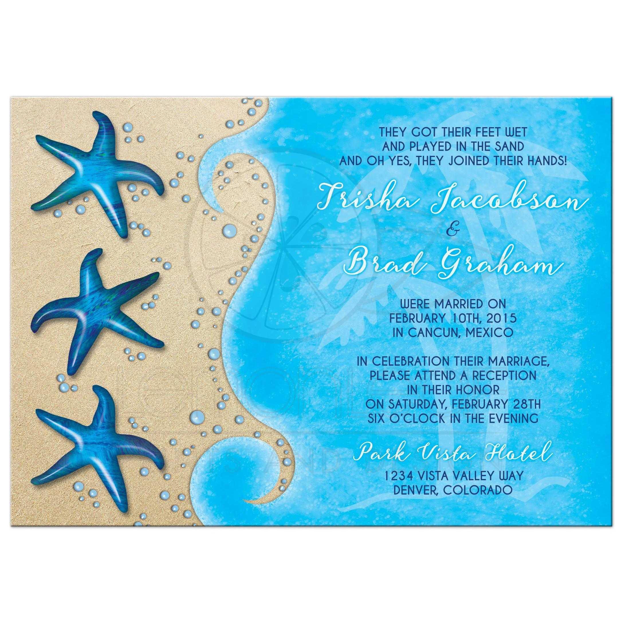 Destination Wedding Reception Ideas: Tropical Post Wedding Reception Only Invitation Paua Shell
