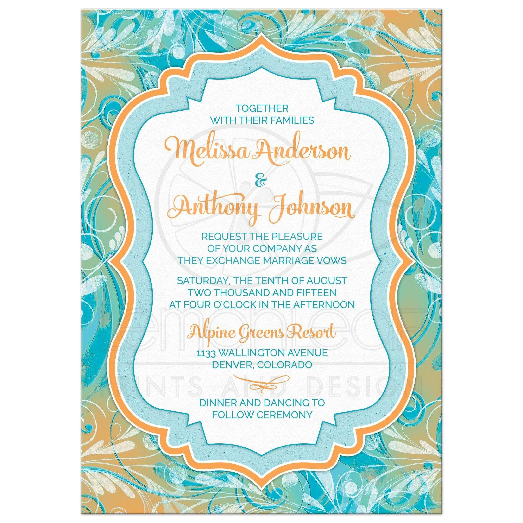 Wedding Invitation Turquoise Orange Painted Fl