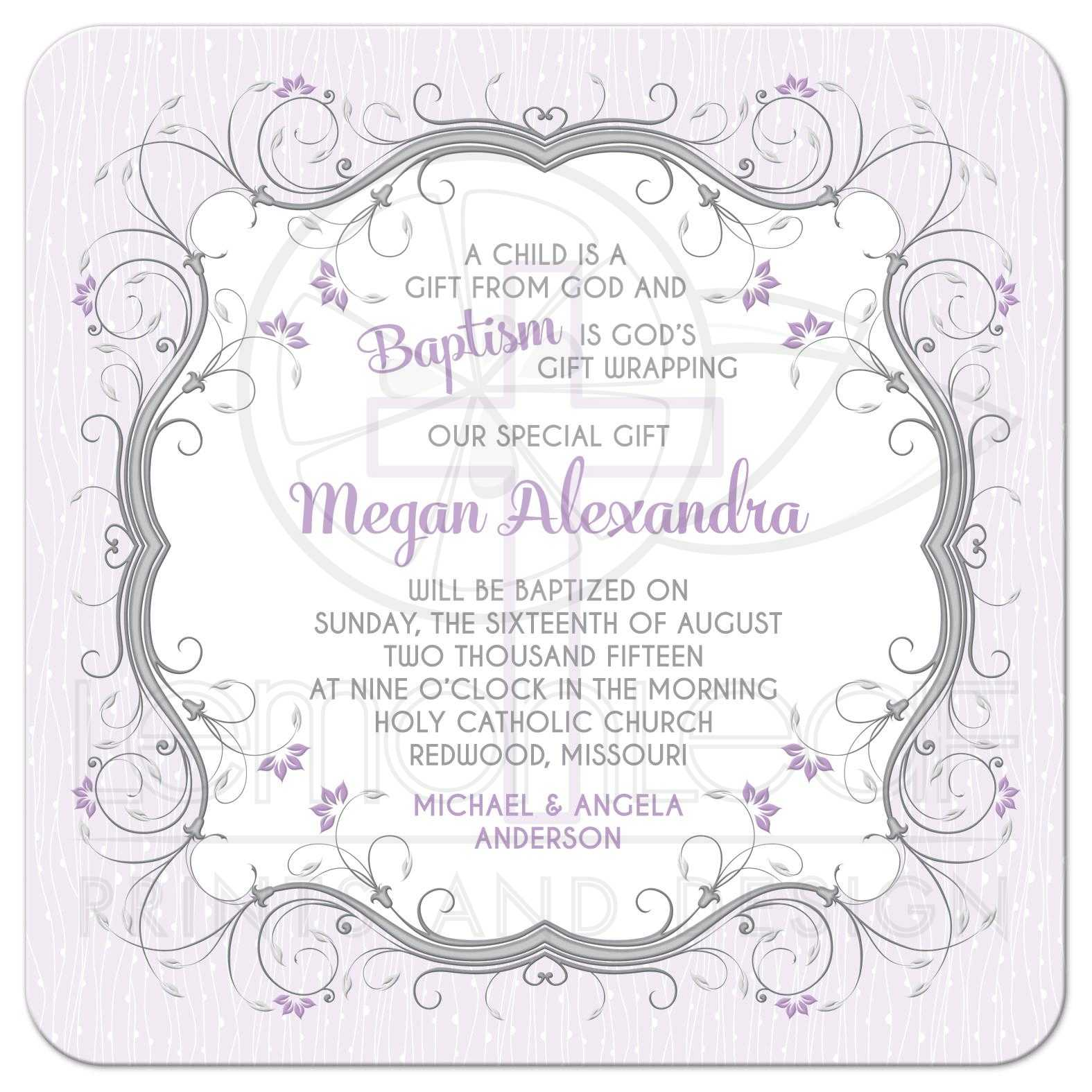 Baptism Invitation Purple Grey Floral Vines Cross