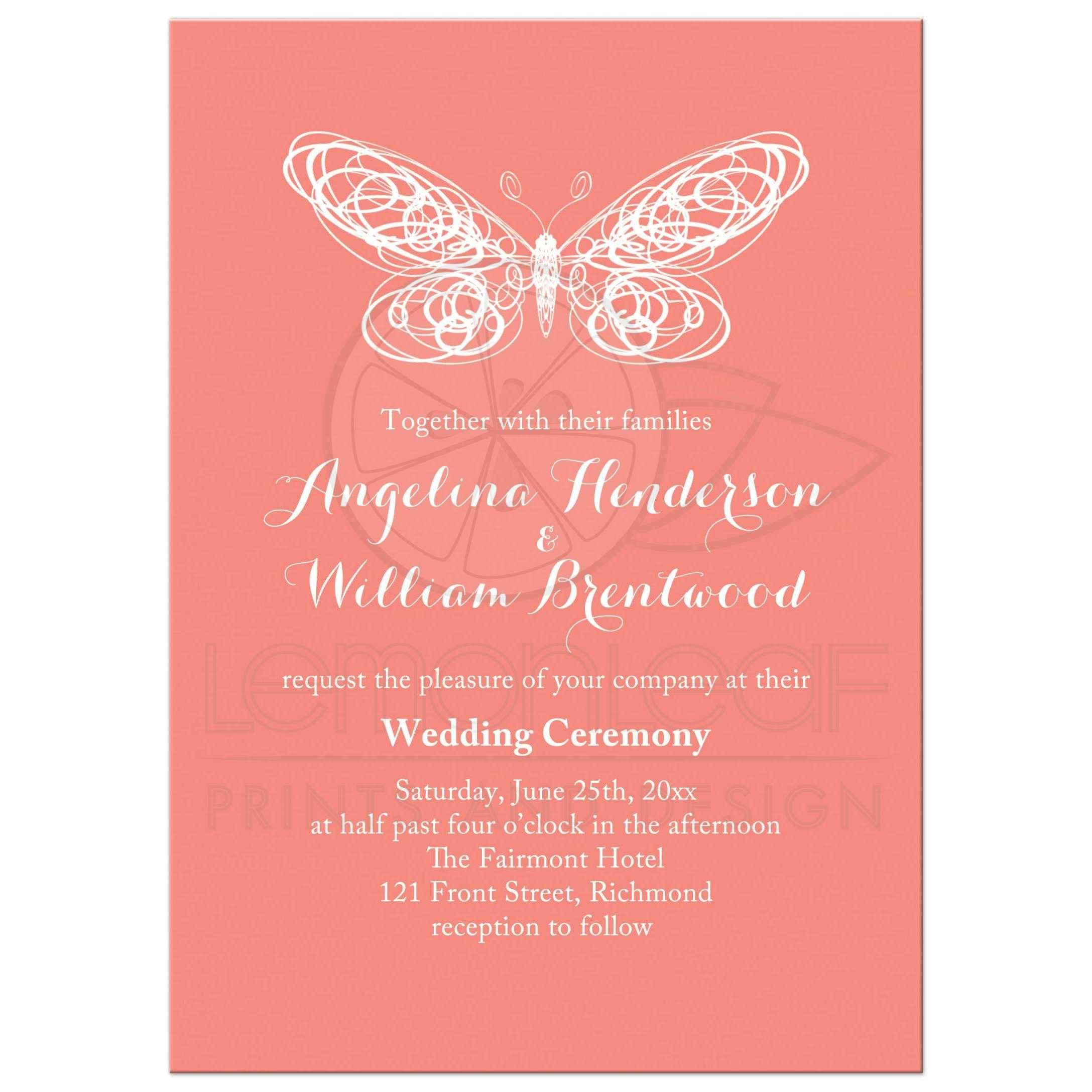 Wedding Invitation - Coral Butterfly