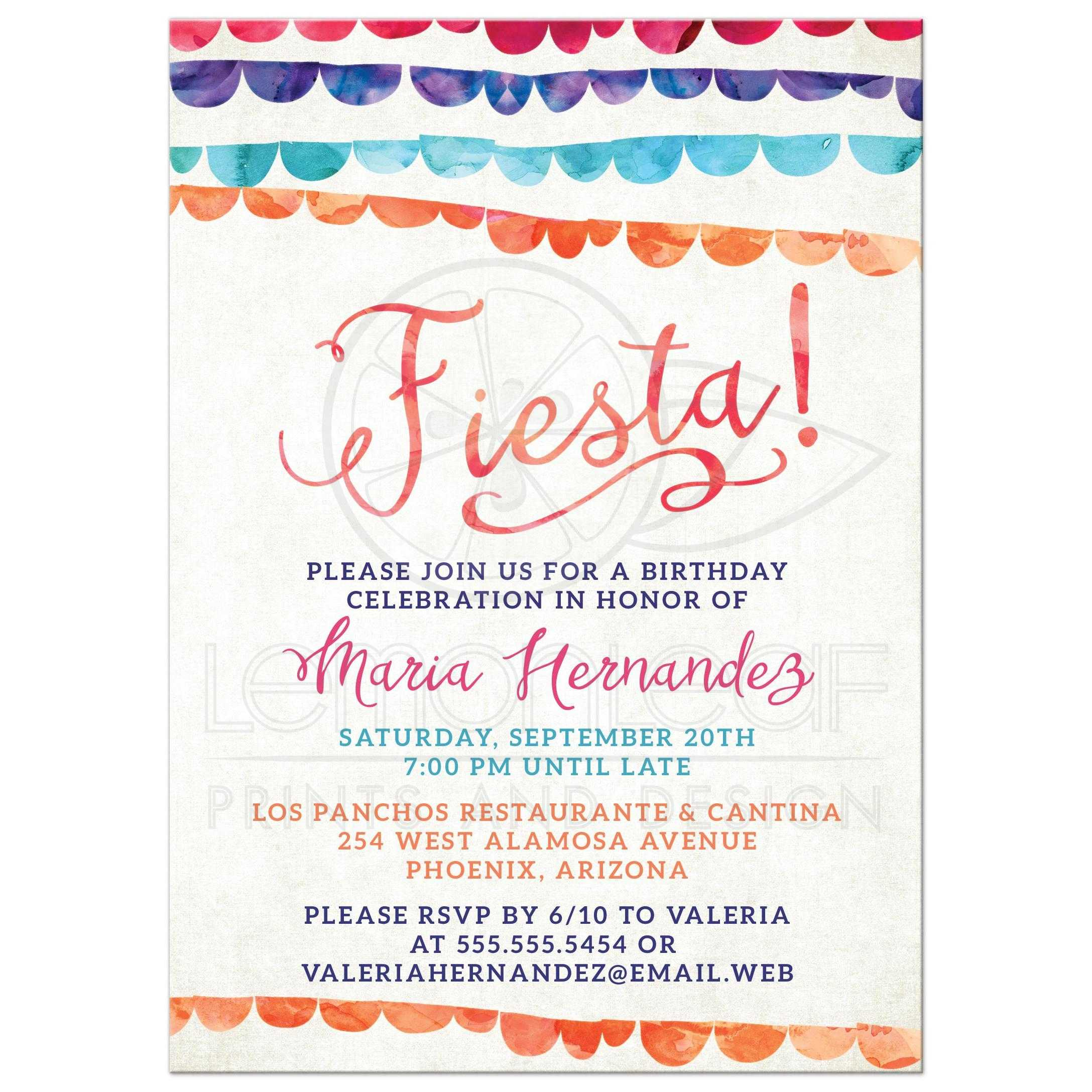 Fiesta Party Invitations - Colorful Banners