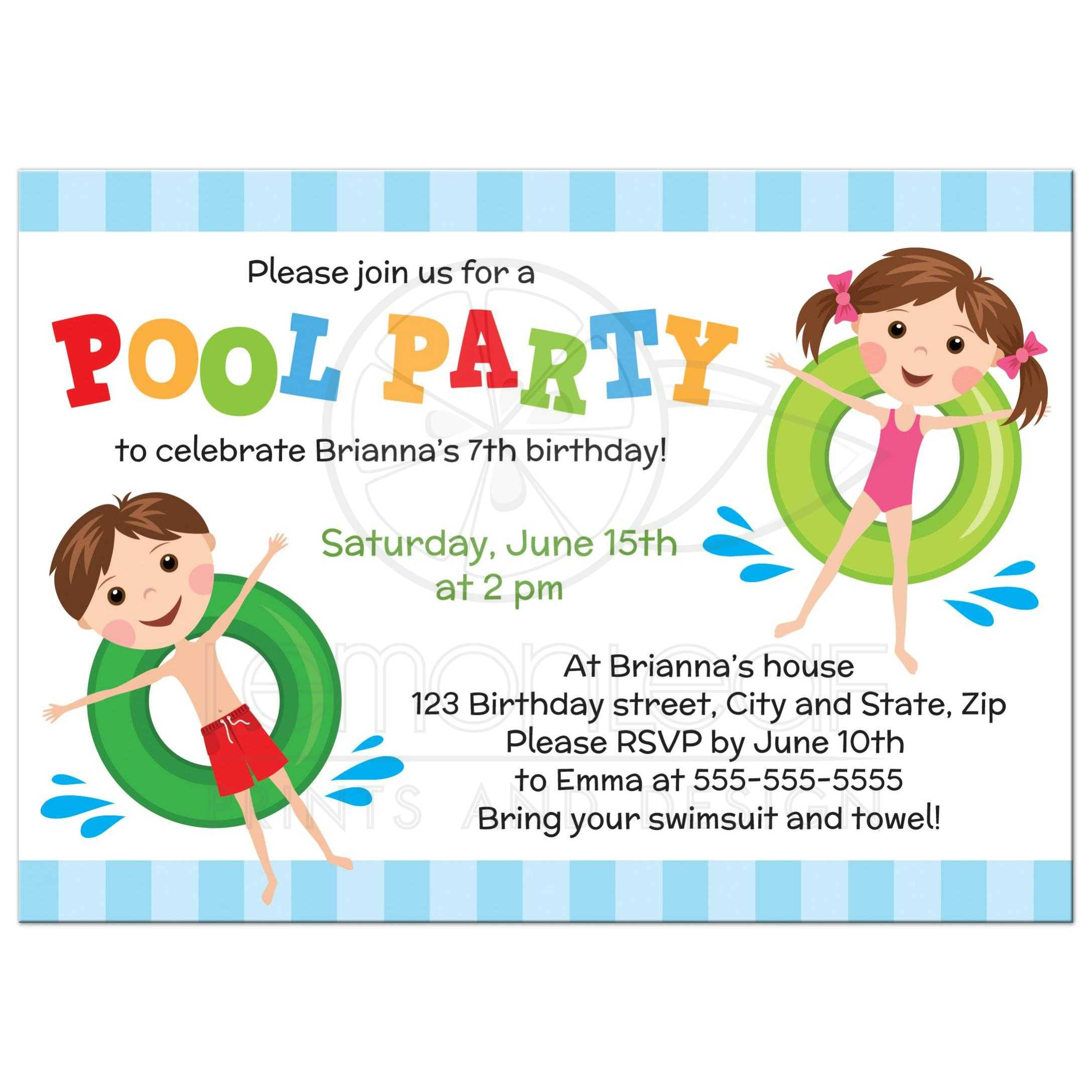 cute pool birthday party invitation with boy and girl on inflatables