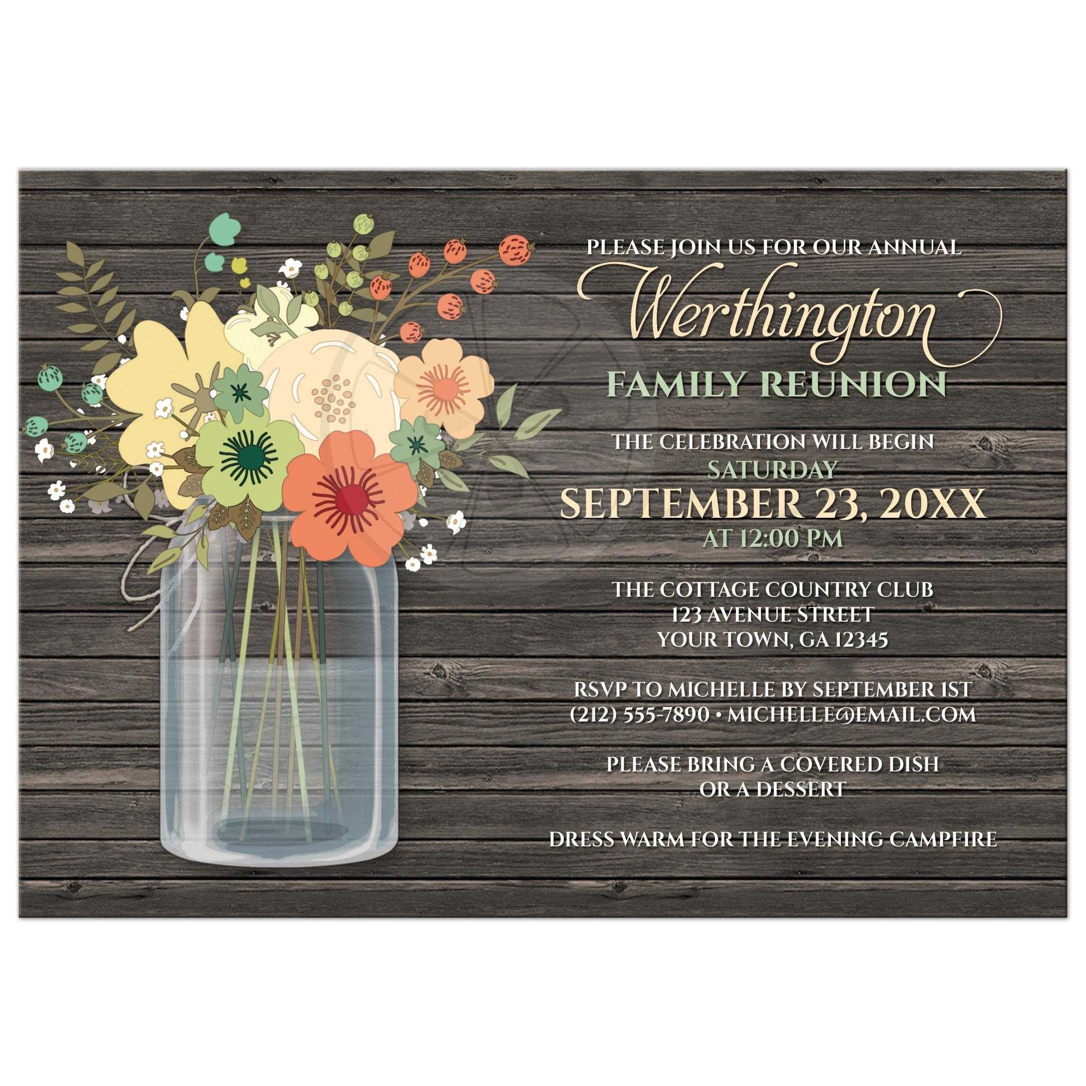 Beautiful Family Reunion Invitations   Rustic Floral Wood Mason Jar  Invitations For Family Reunion