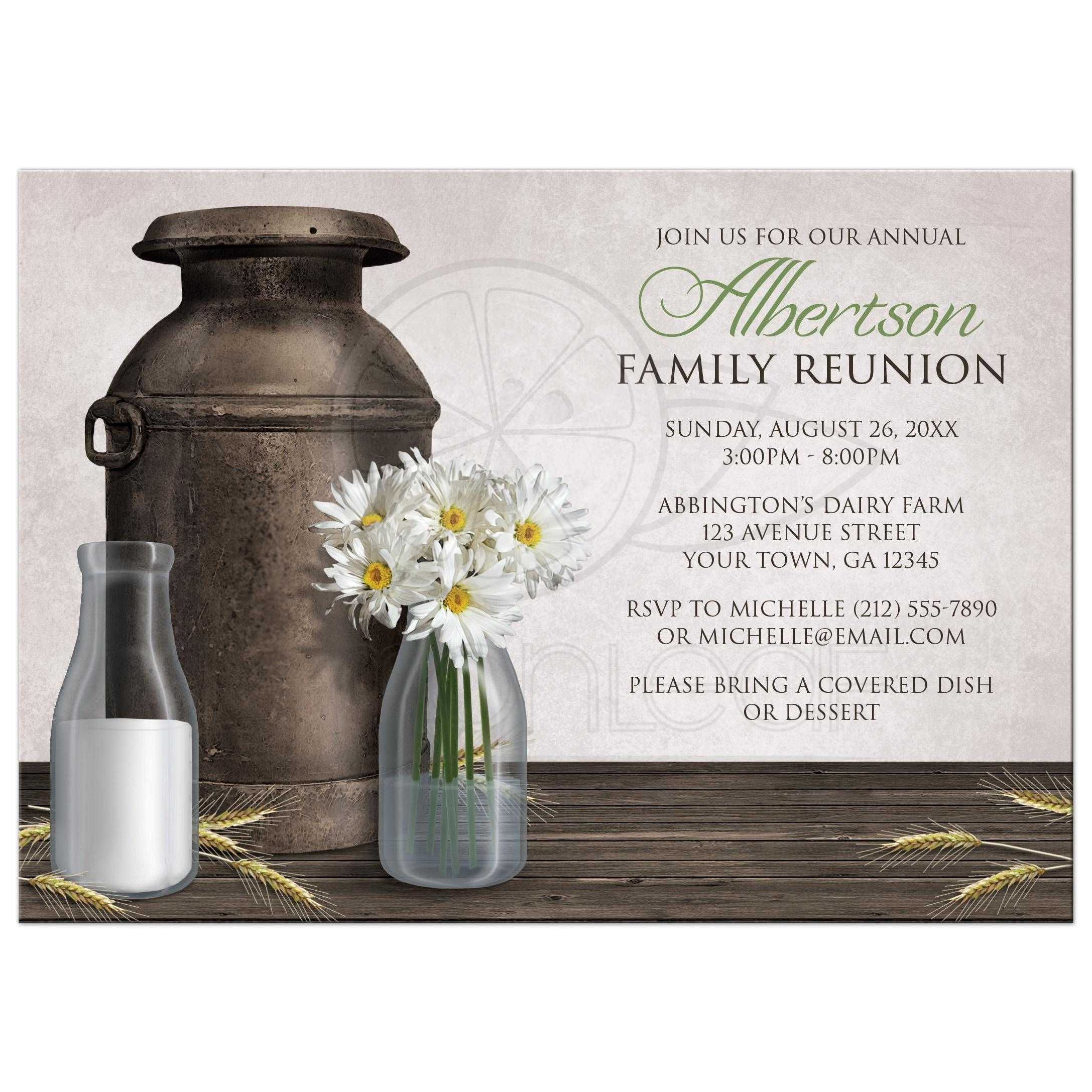 family reunion invitations rustic dairy farm