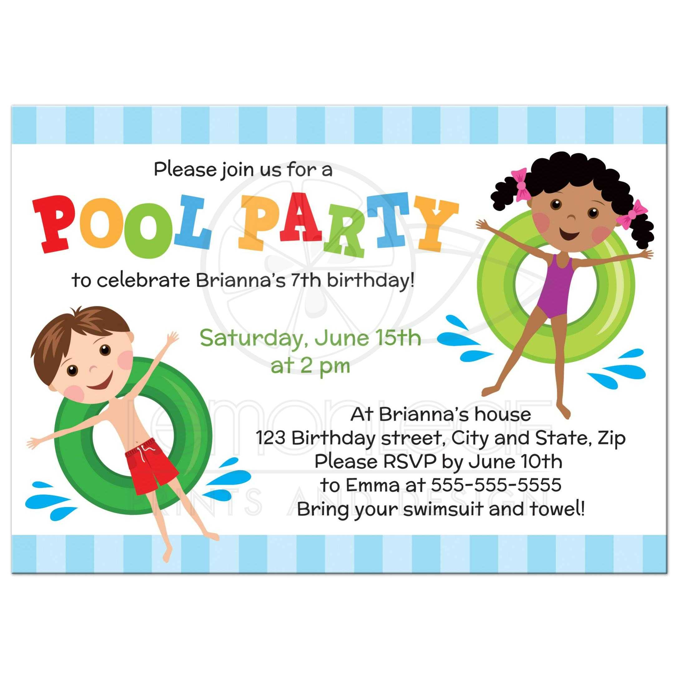 Pool birthday party invitation for kids, boy and girl on inflatables