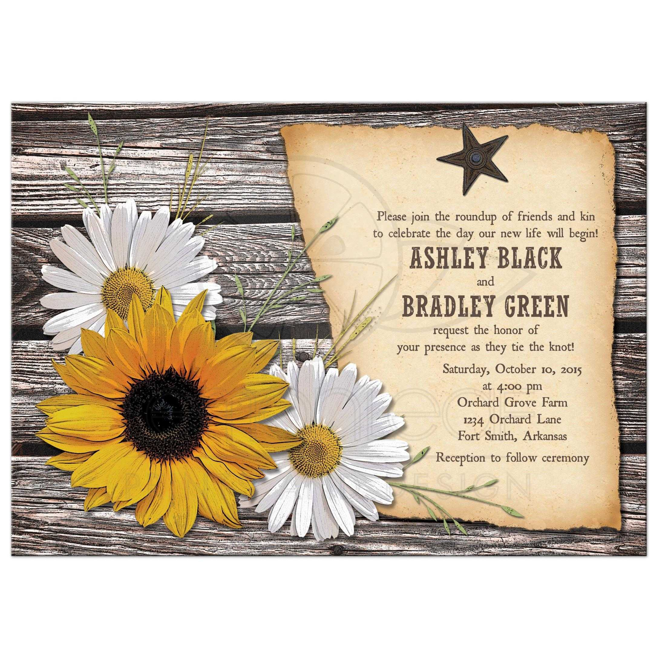 Rustic Daisy Wedding Invitations: Country Wedding Invitation Rustic Sunflower Daisy Wood