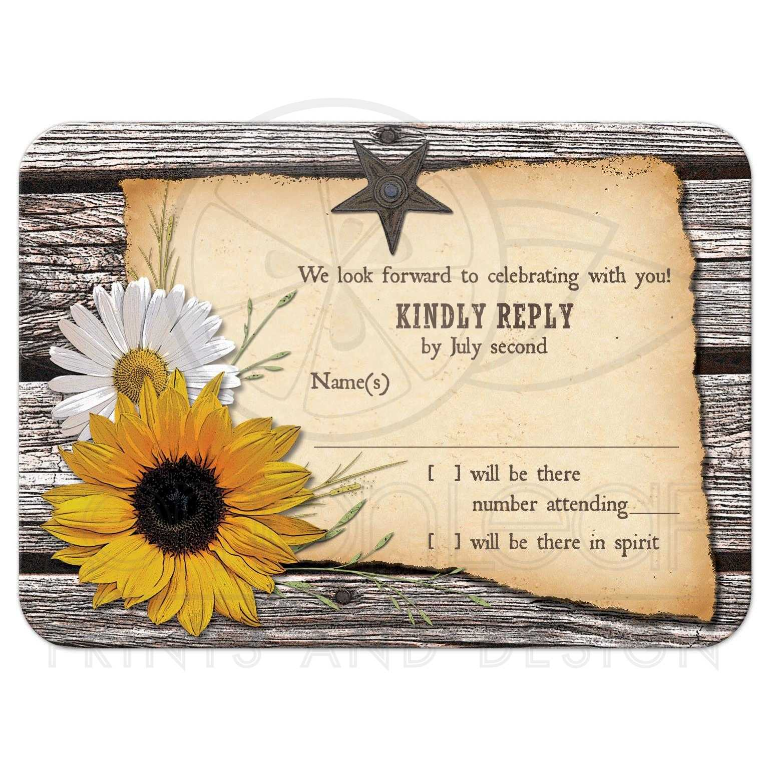 country wedding rsvp card rustic sunflower daisy wood