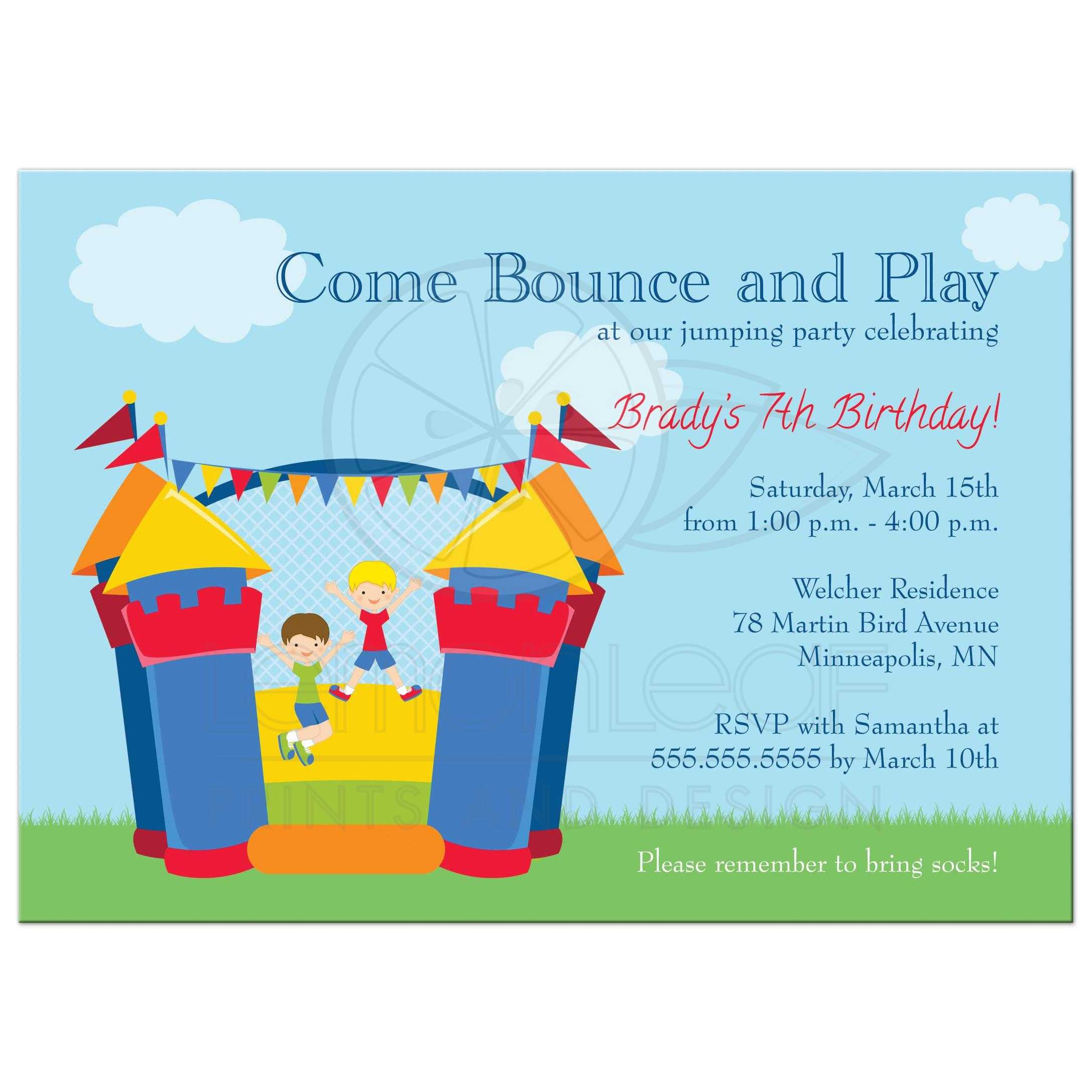 Birthday Party Invitation - Boy\'s Bounce House Jumping