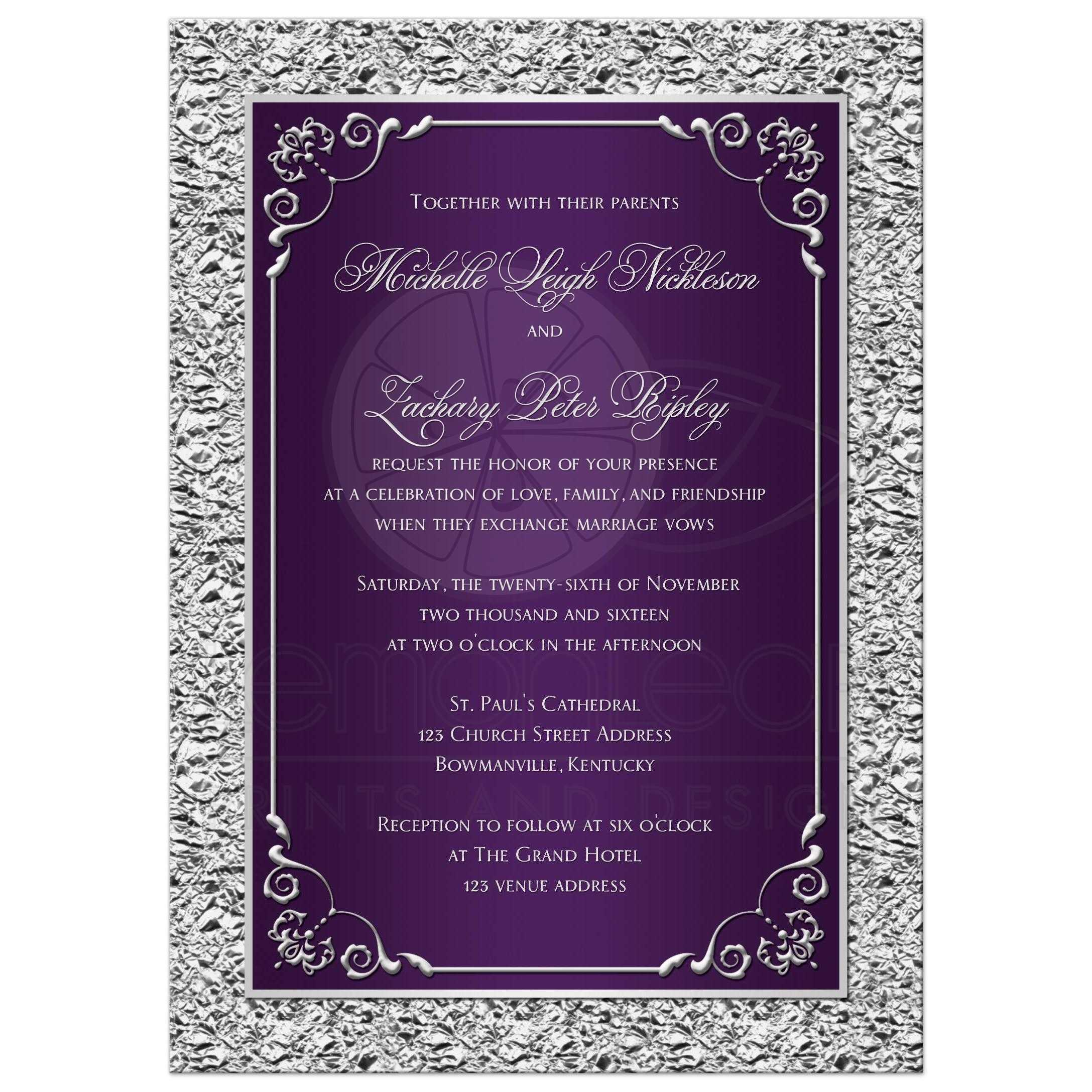 Printable Wedding Invitations Designs With Red And Silver: Purple, Silver Scrolls