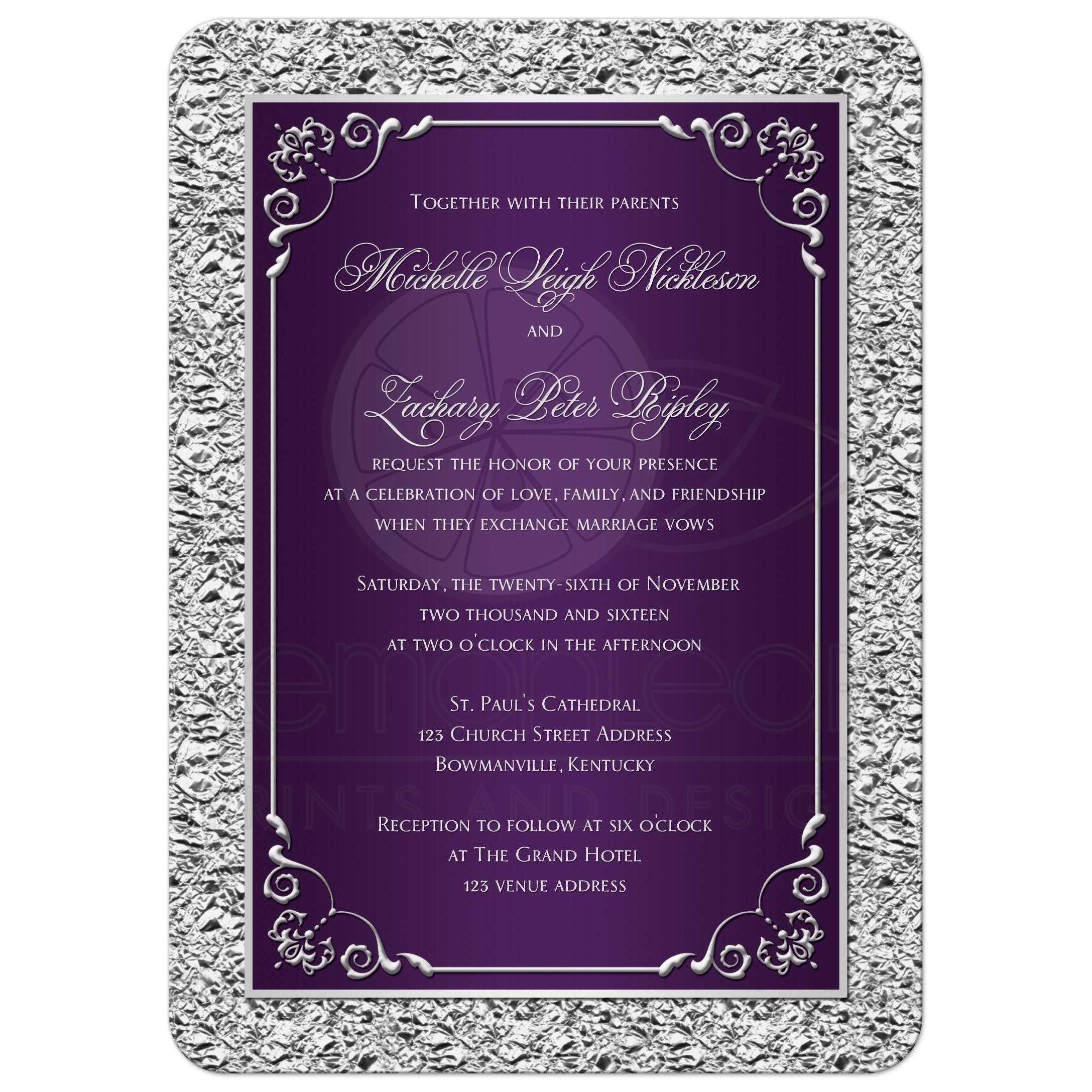 Wedding invitation purple silver scrolls faux silver foil purple and silver gray wedding invitation with ornate scrolls junglespirit Image collections