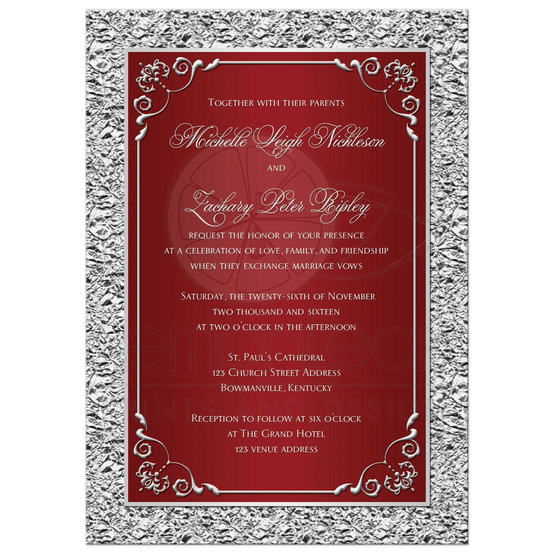 Red And Silver Gray Wedding Invitation With Ornate Scrolls