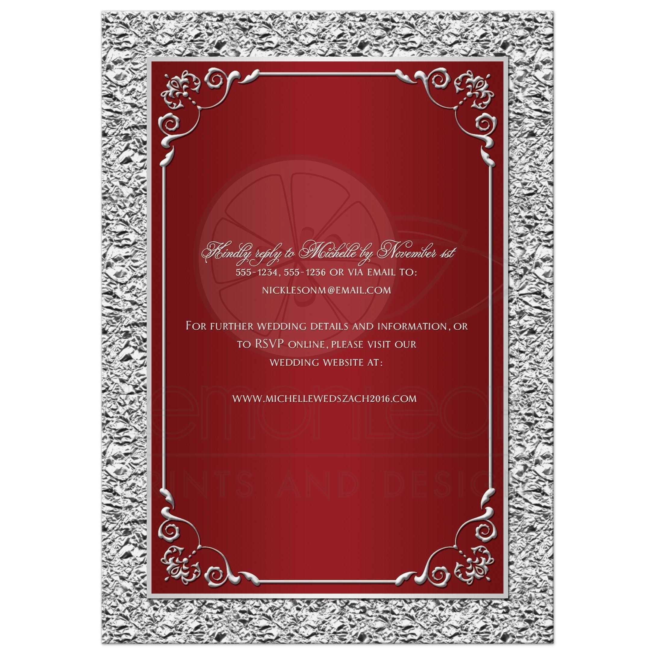 Wedding Invitation | Red, Silver Scrolls | Faux Silver Foil