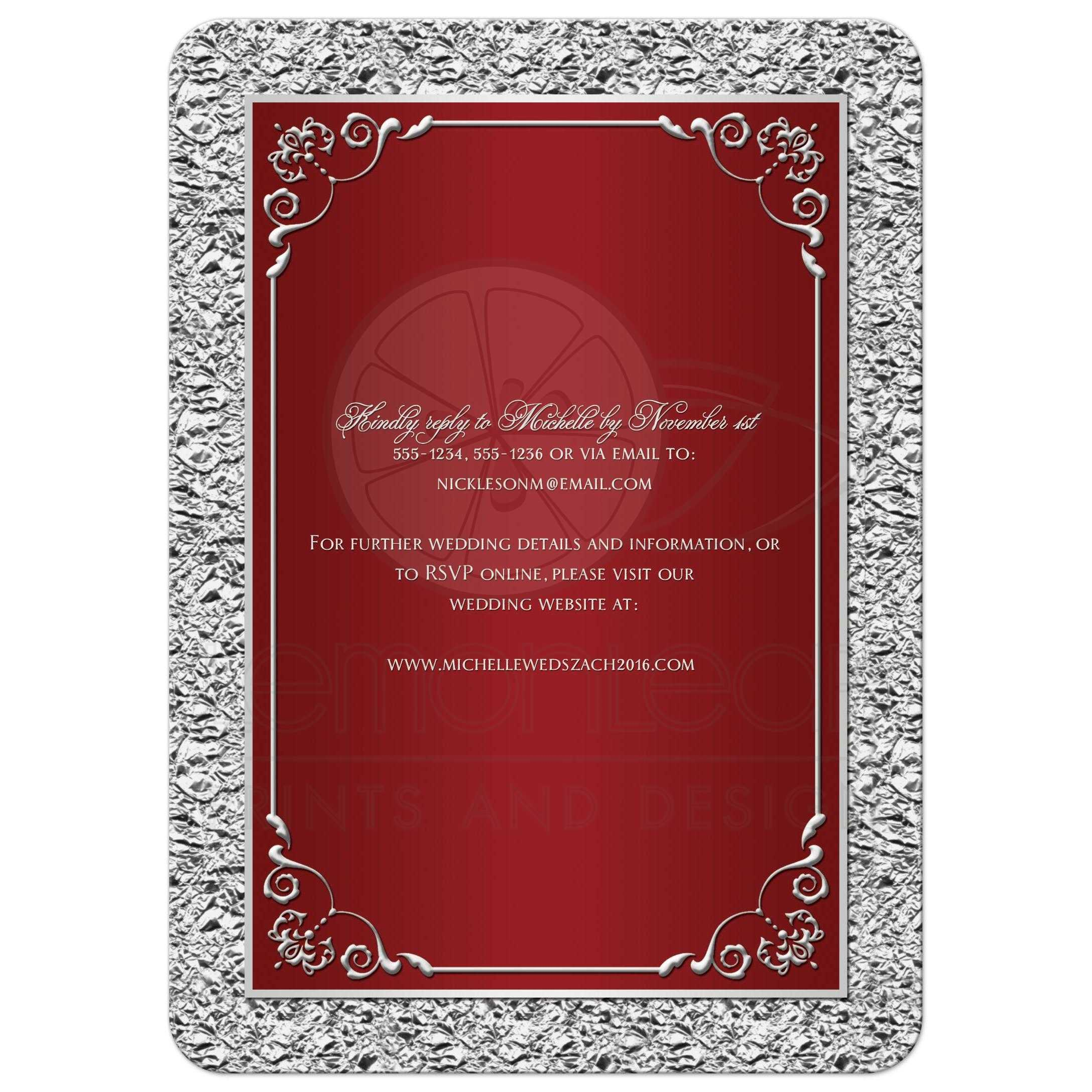 Printable Wedding Invitations Designs With Red And Silver: Red, Silver Scrolls