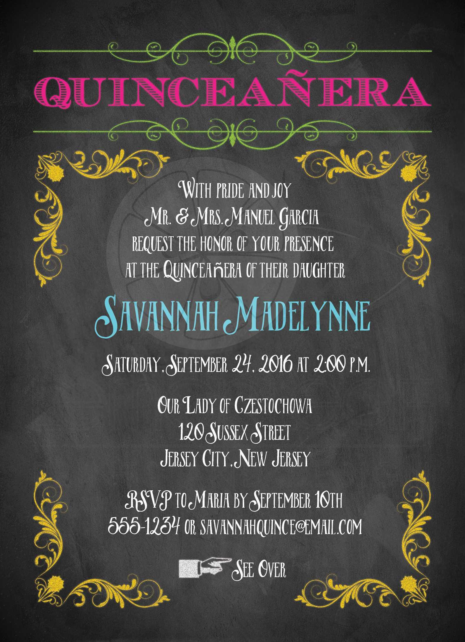 quinceanera invitation neon chalkboard vintage scrolls and flourishes