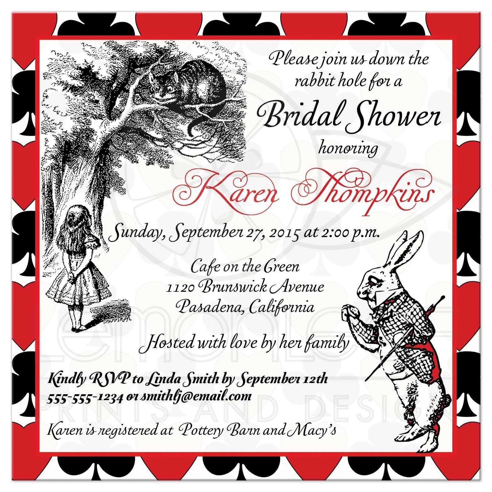 Bridal Shower Invite | Mad Hatter - Alice in Wonderland | Tea Party ...