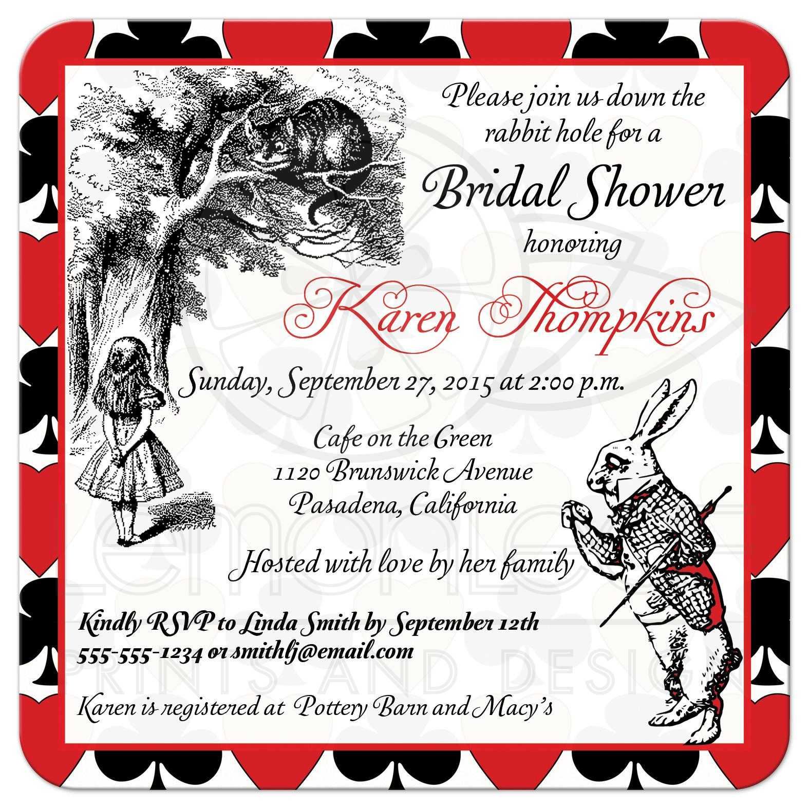 Bridal shower invite mad hatter alice in wonderland tea party alice in wonderland tea party wedding shower invitation mad hatter filmwisefo