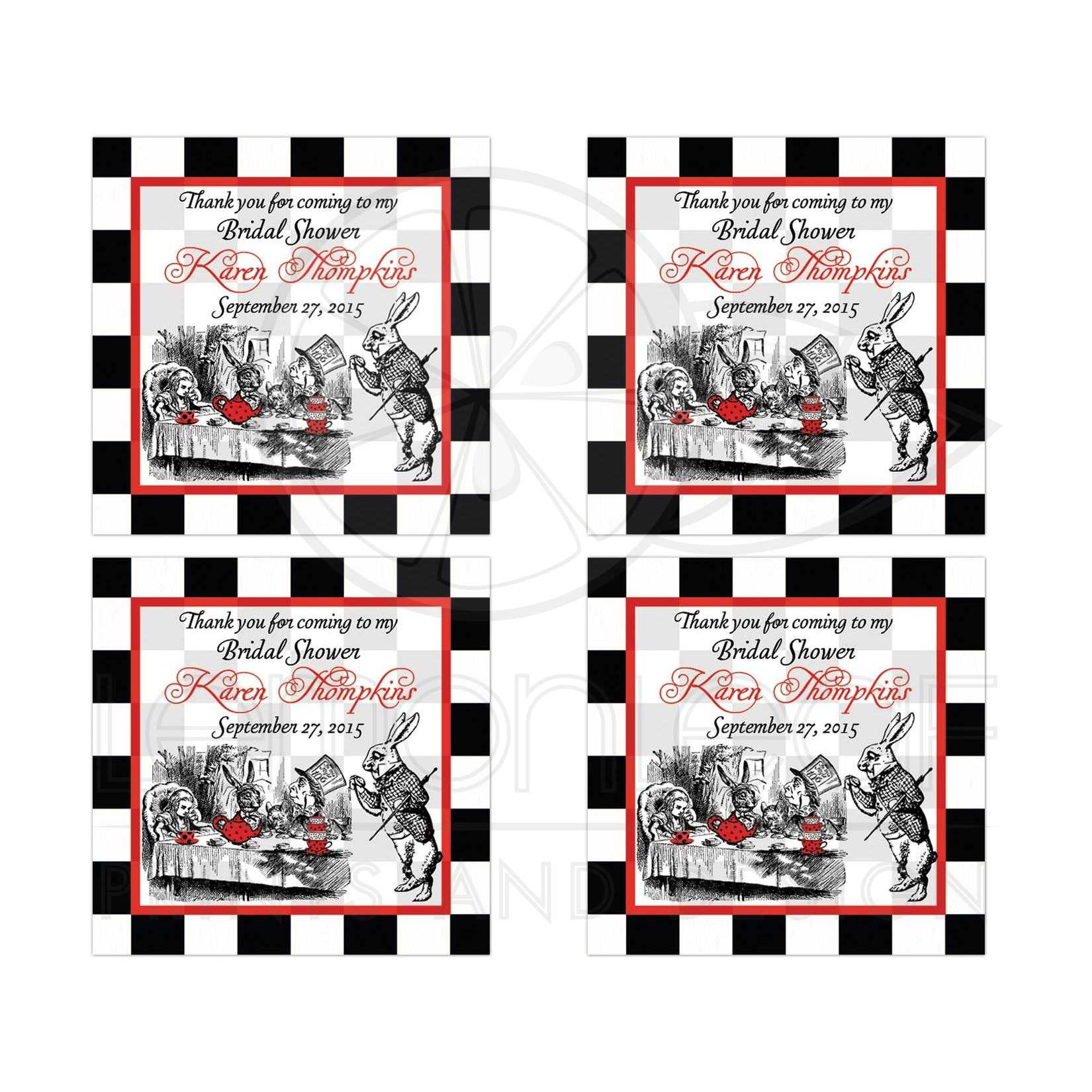 alice in wonderland with mad hatter bridal shower tea party favor stickers