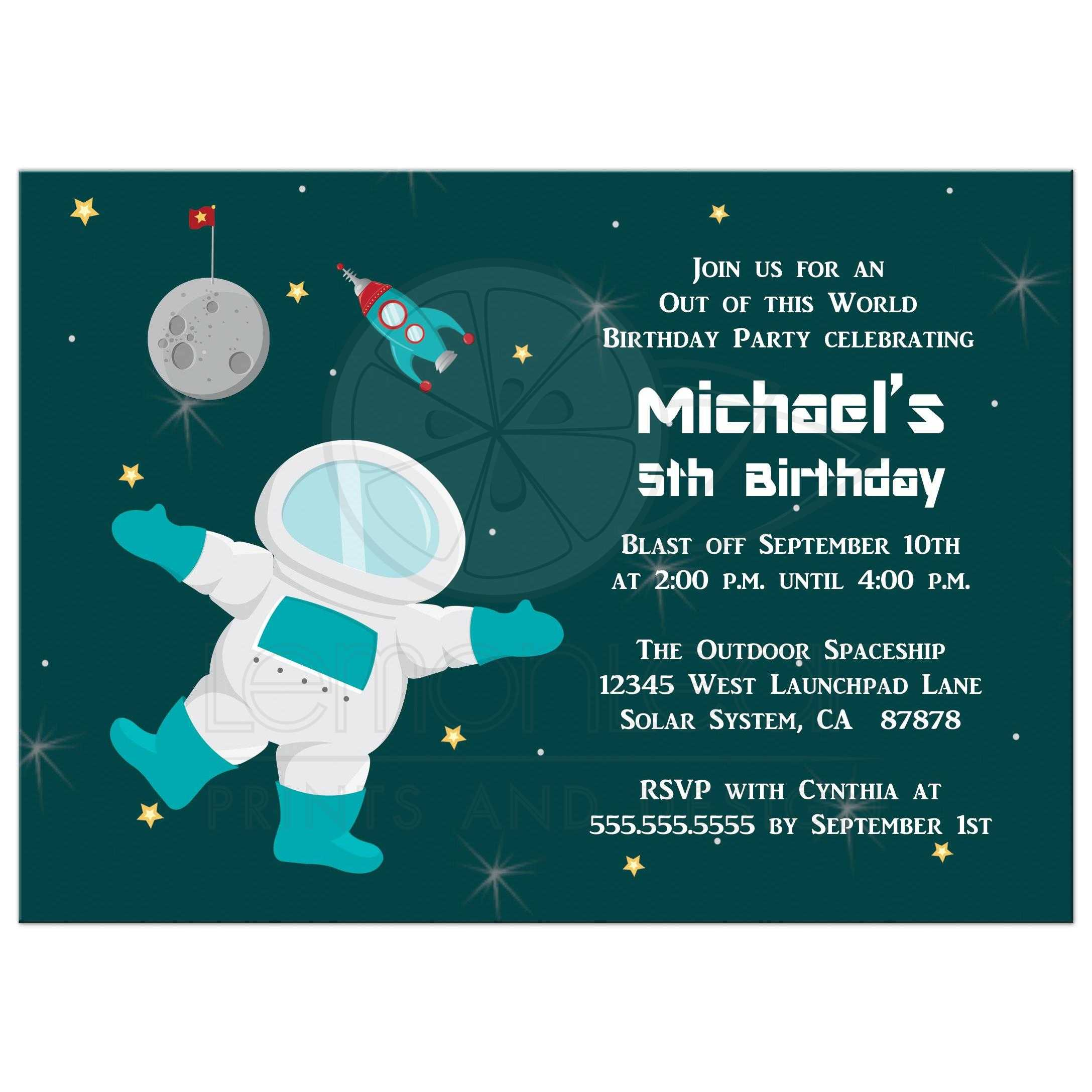 Birthday Party Invitation Boys outer space astronaut