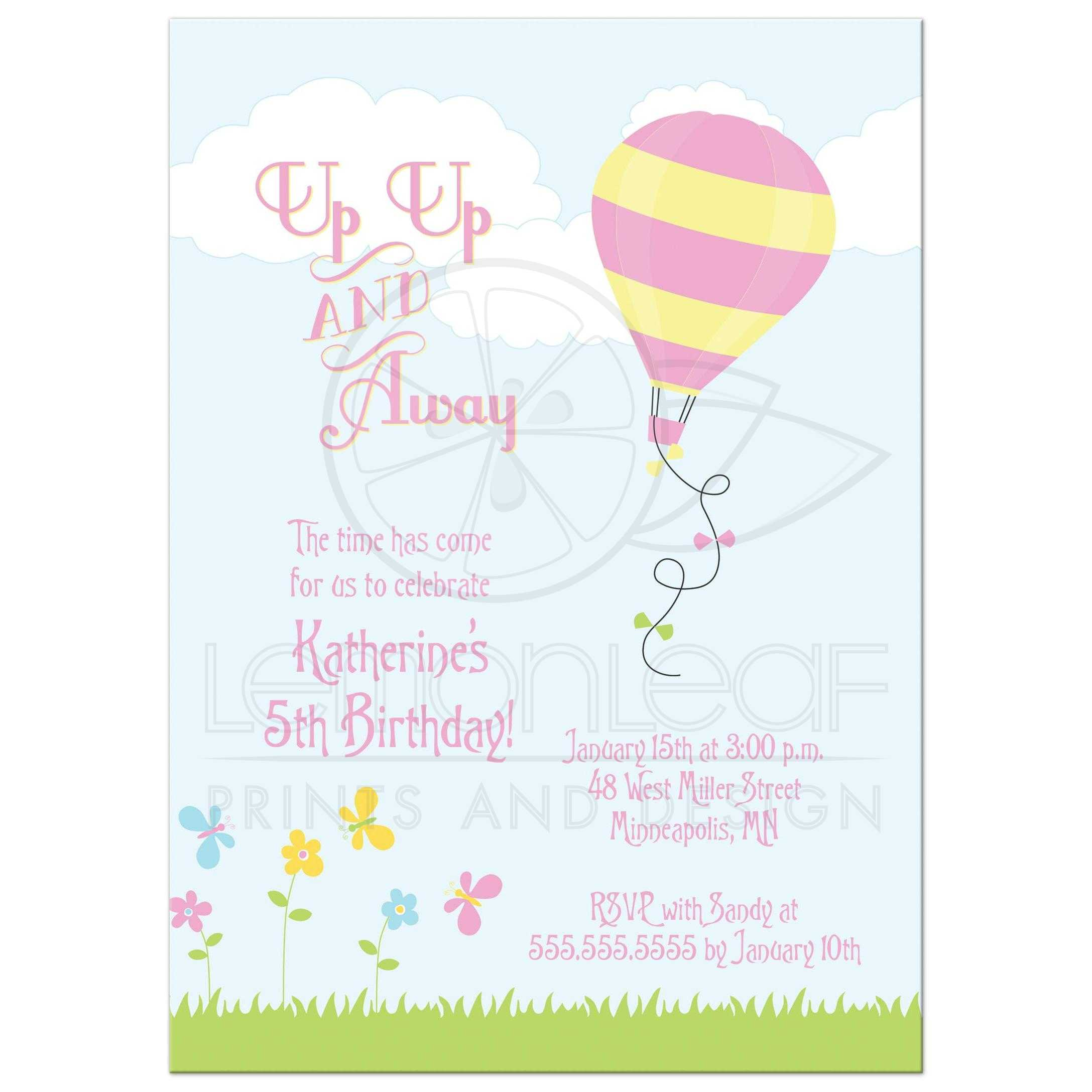 Hot Air Balloon S Birthday Party Invitation