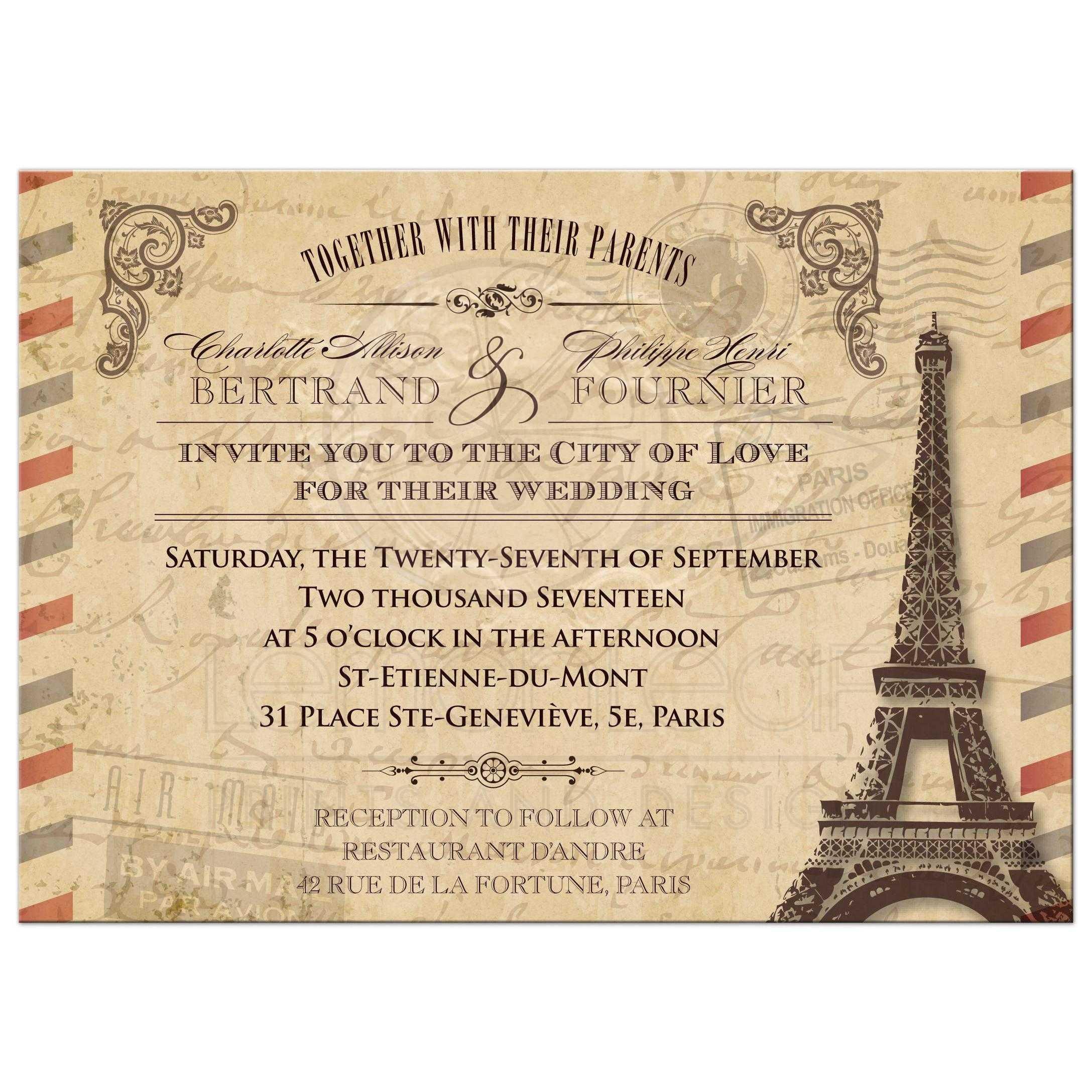 Wedding Invitation Vintage Parisian Airmail Parchment Antique Look