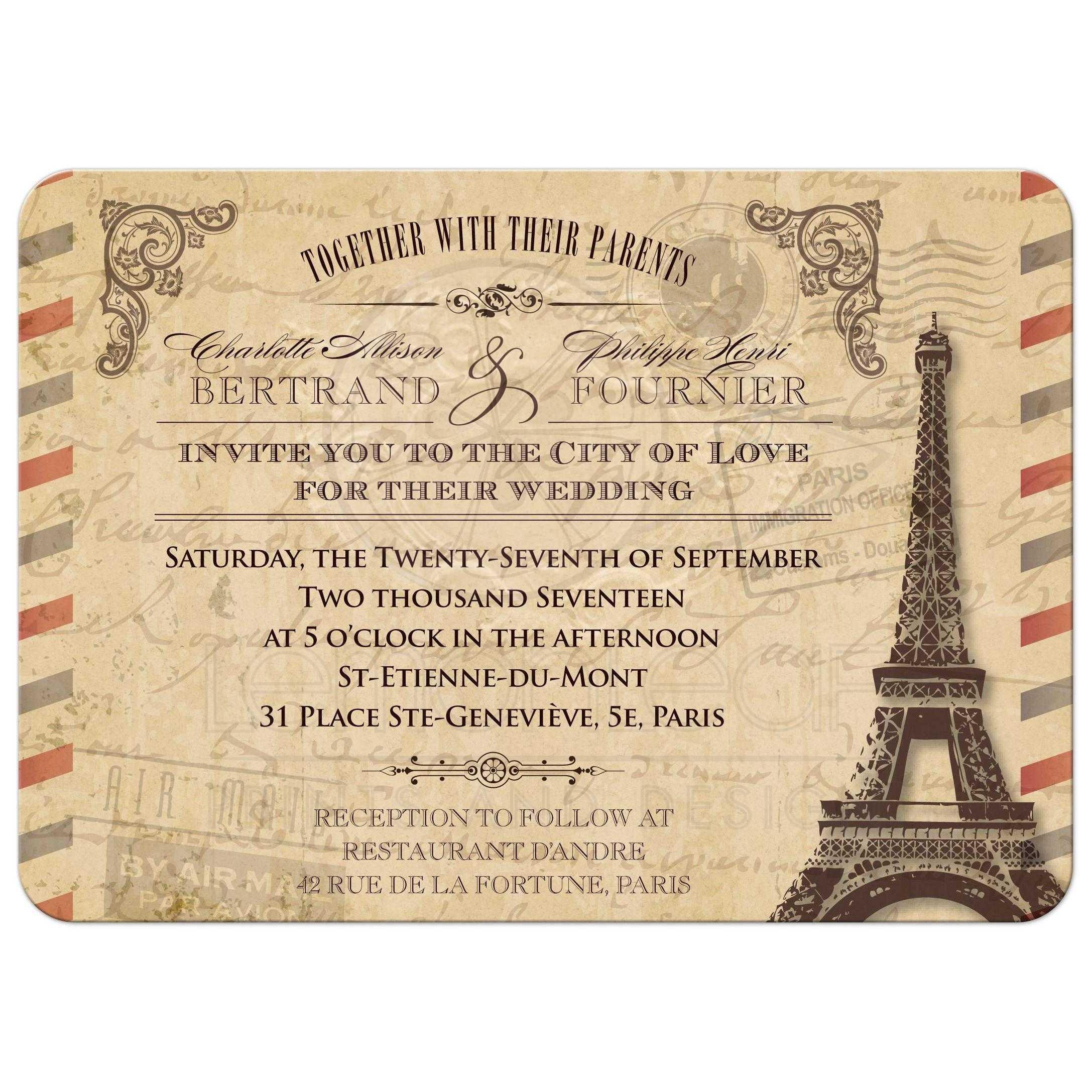 Airmail Wedding Invitations: Vintage Parisian Airmail Parchment