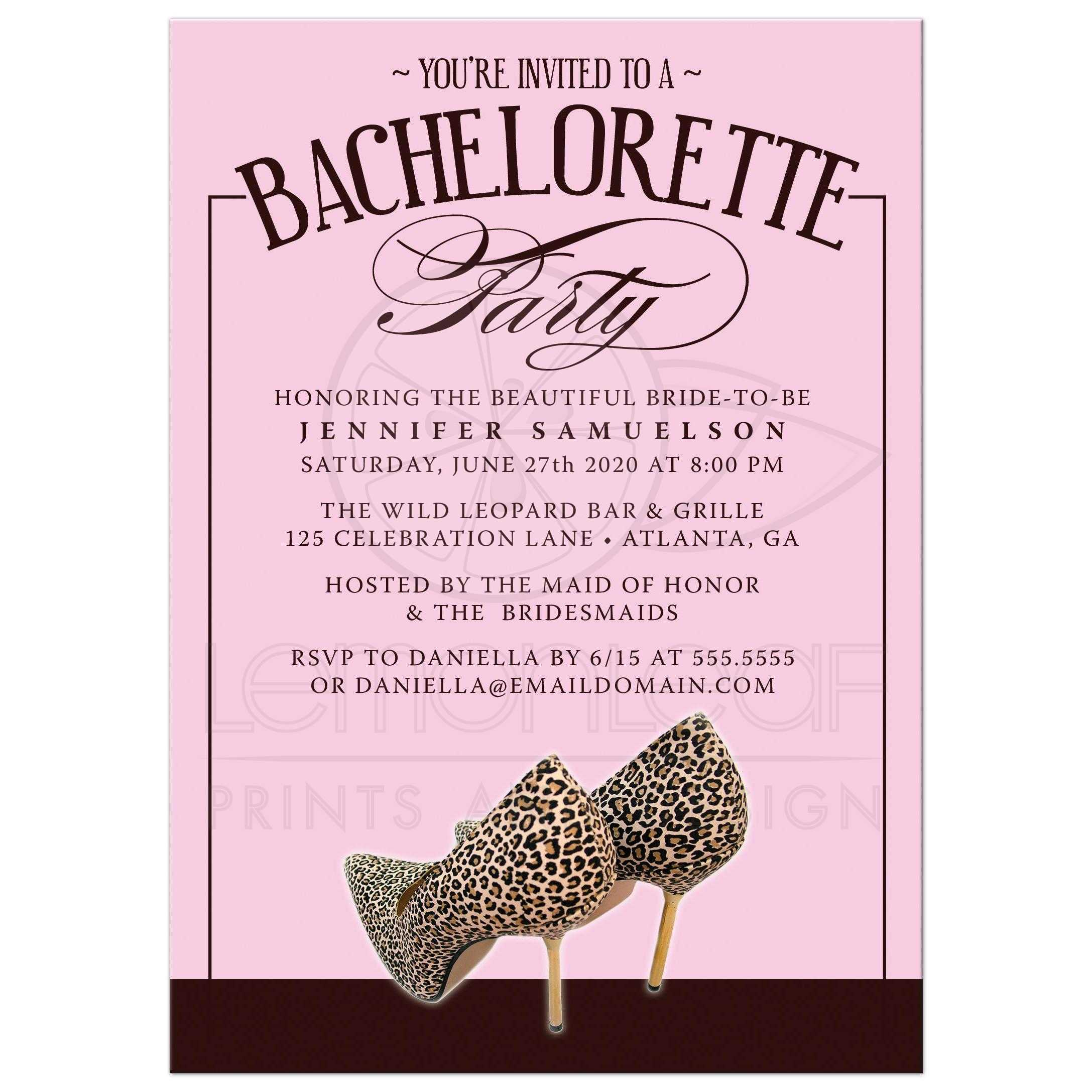 bachelorette party invitations leopard print shoes pink