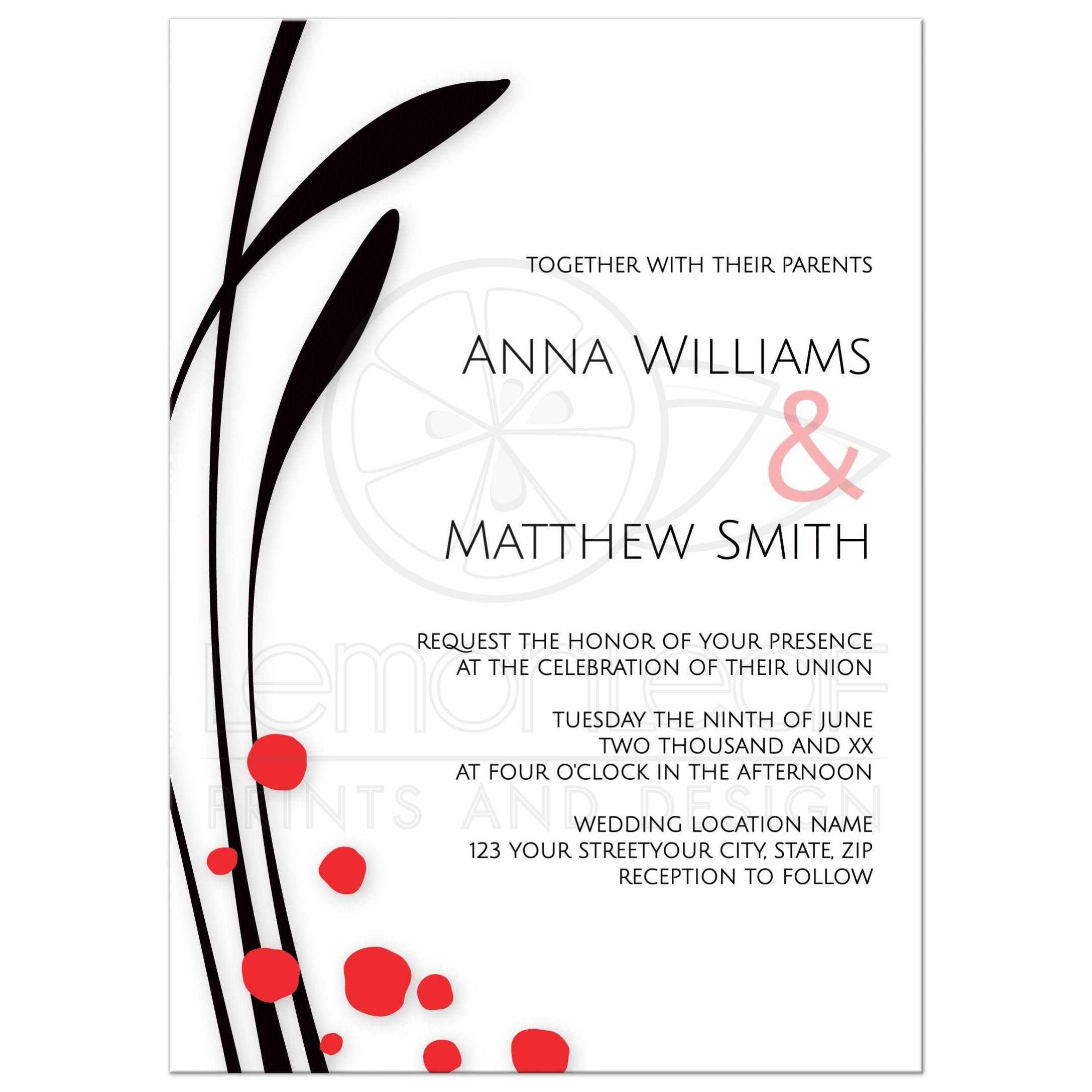 Modern minimalist asian floral wedding invitation for Minimalist floral wedding invitations