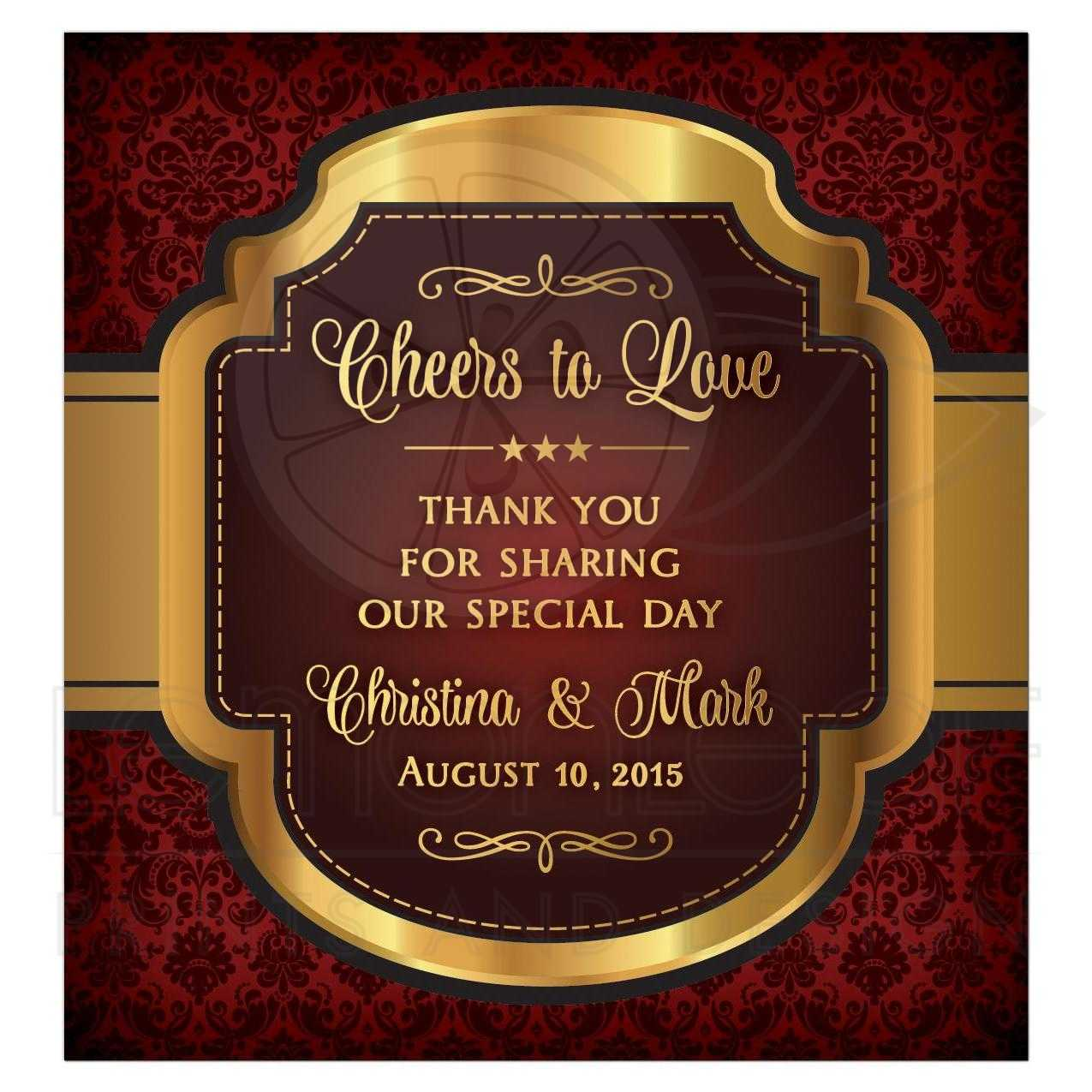 Wedding Wine Label Burgundy Gold Cheers to Love