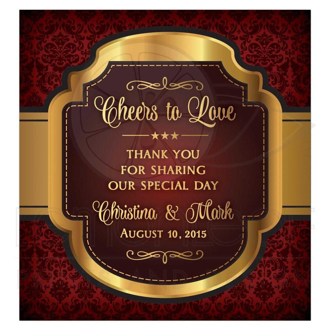 Wedding Wine Label Burgundy Gold Cheers To Love