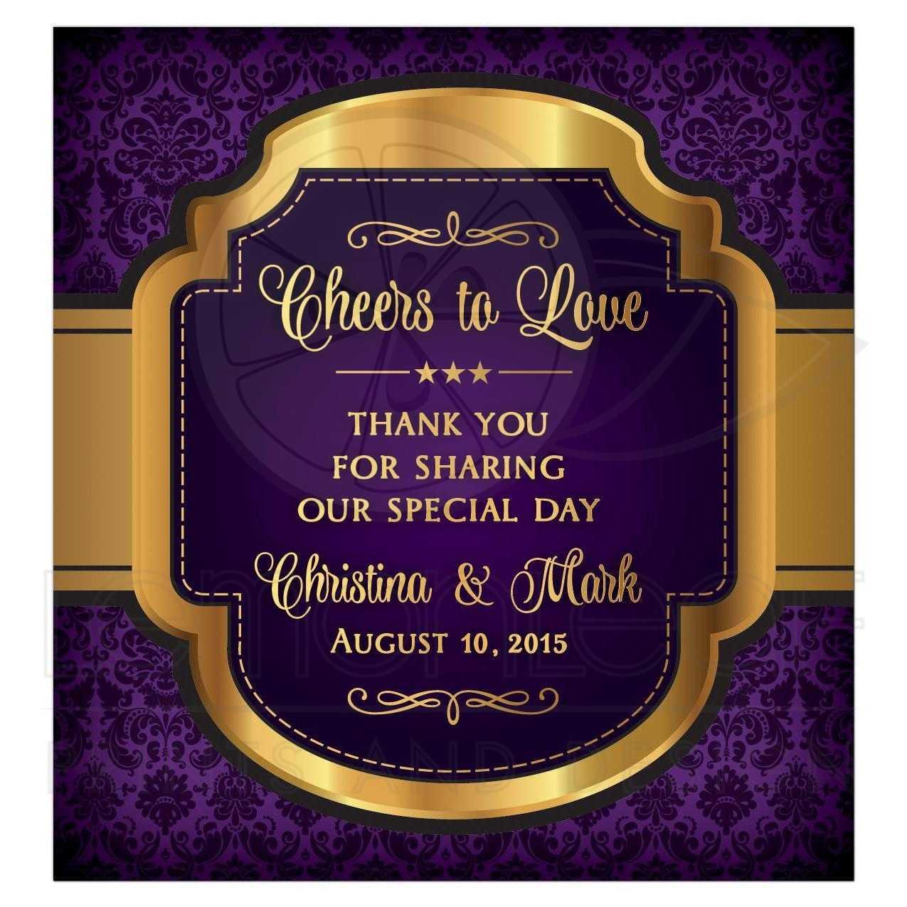 Wedding Wine Label Purple Gold Cheers to Love