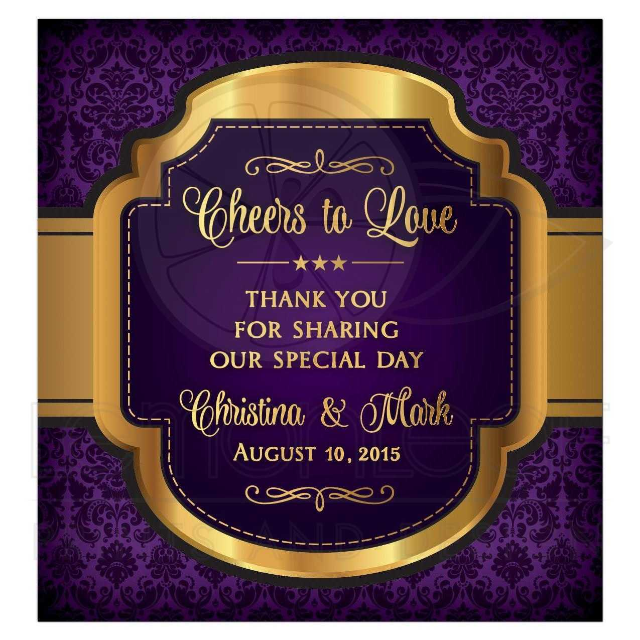 Regal Vintage Purple And Gold Cheers To Love Personalized Wedding Wine Label