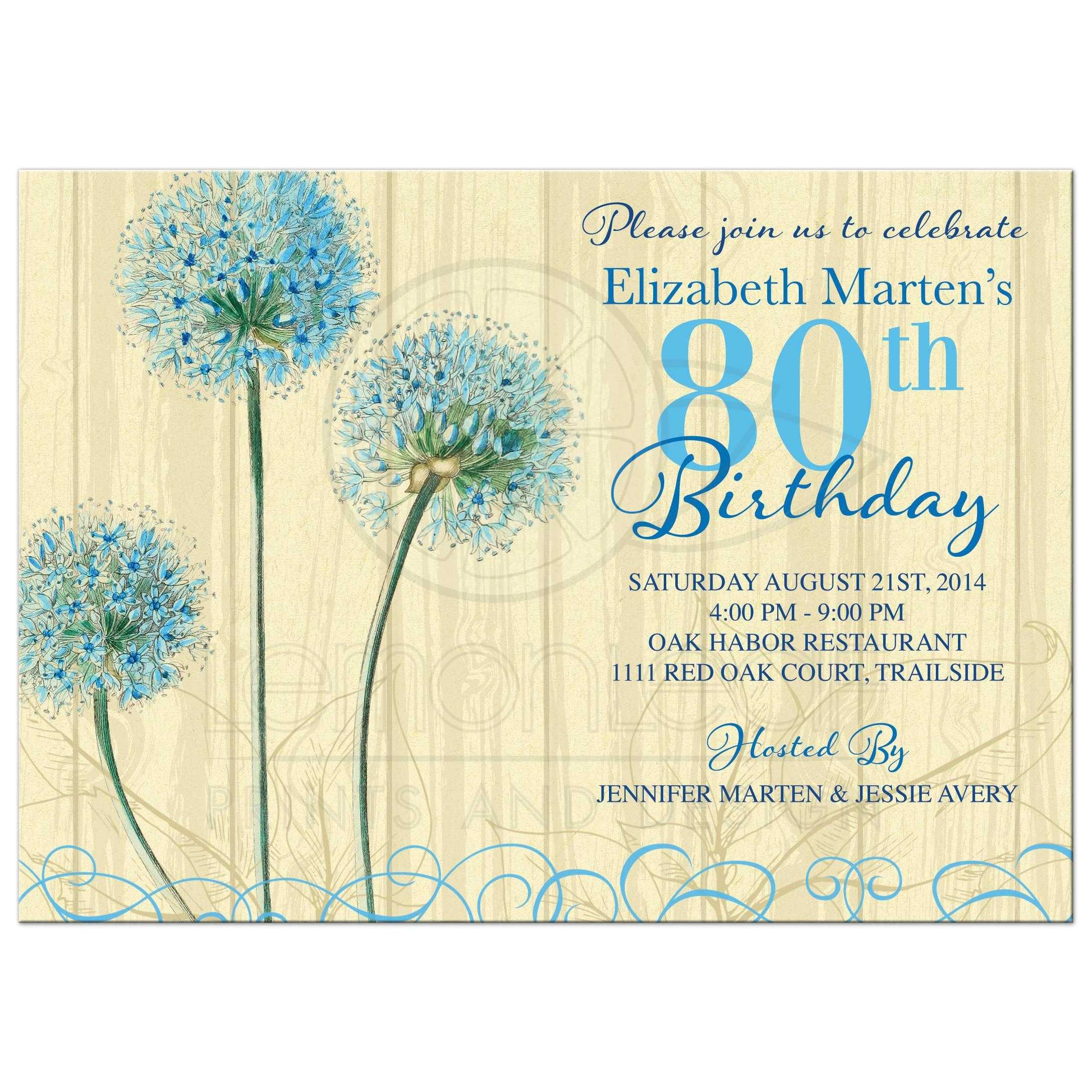 80th Birthday Invitation Vintage Blue Cream Floral