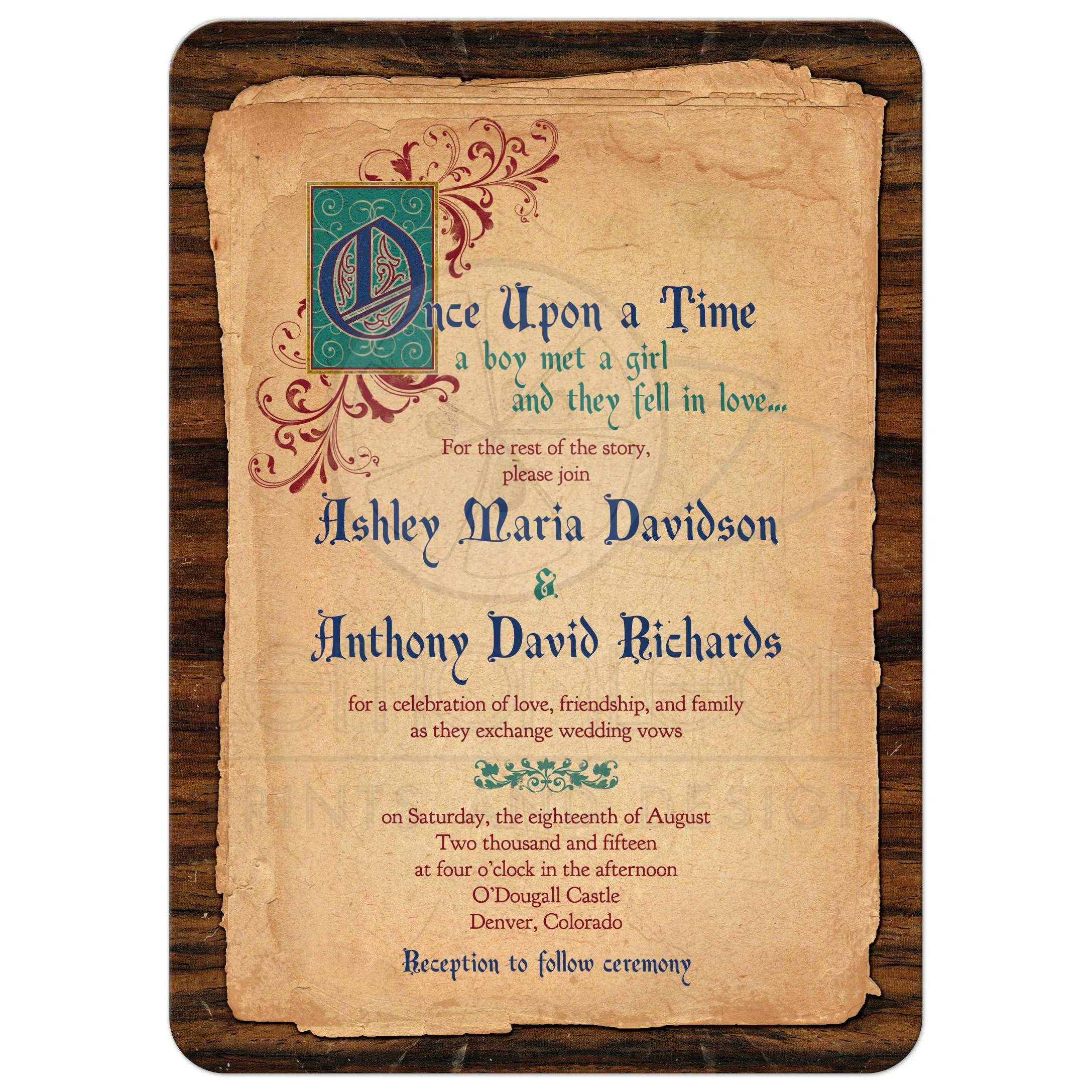 Illuminated Text Meval Fairytale Once Upon A Time Wedding Invitation Front