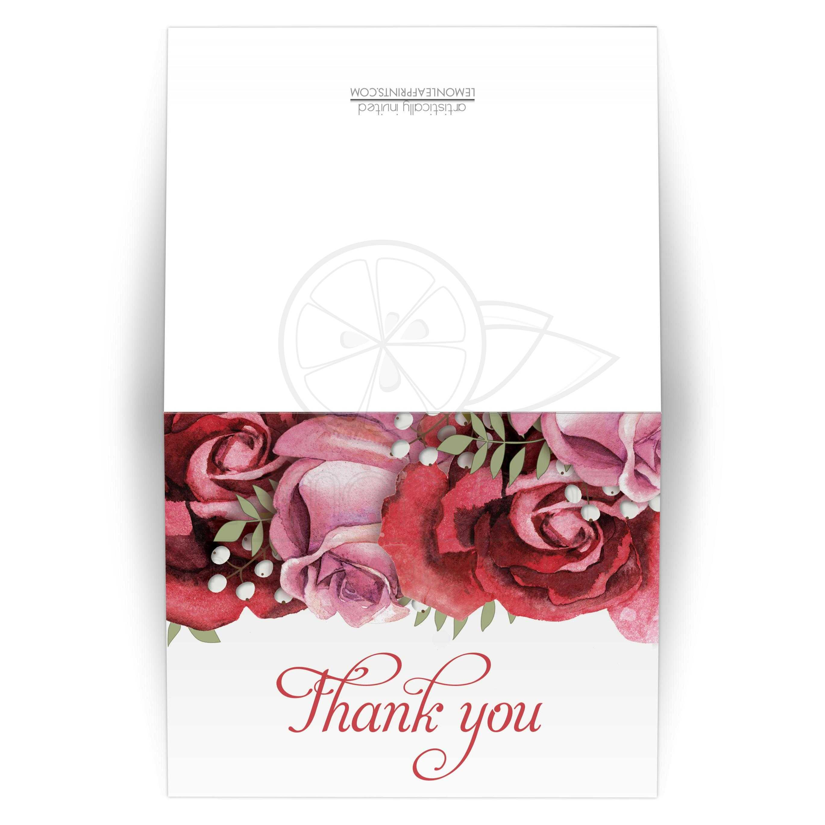Thank You Cards - Burgundy Red Pink Rose